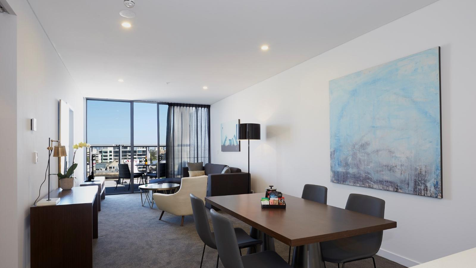 Terrace Two Bedroom Dining Table at Silkari Suites Chatswood