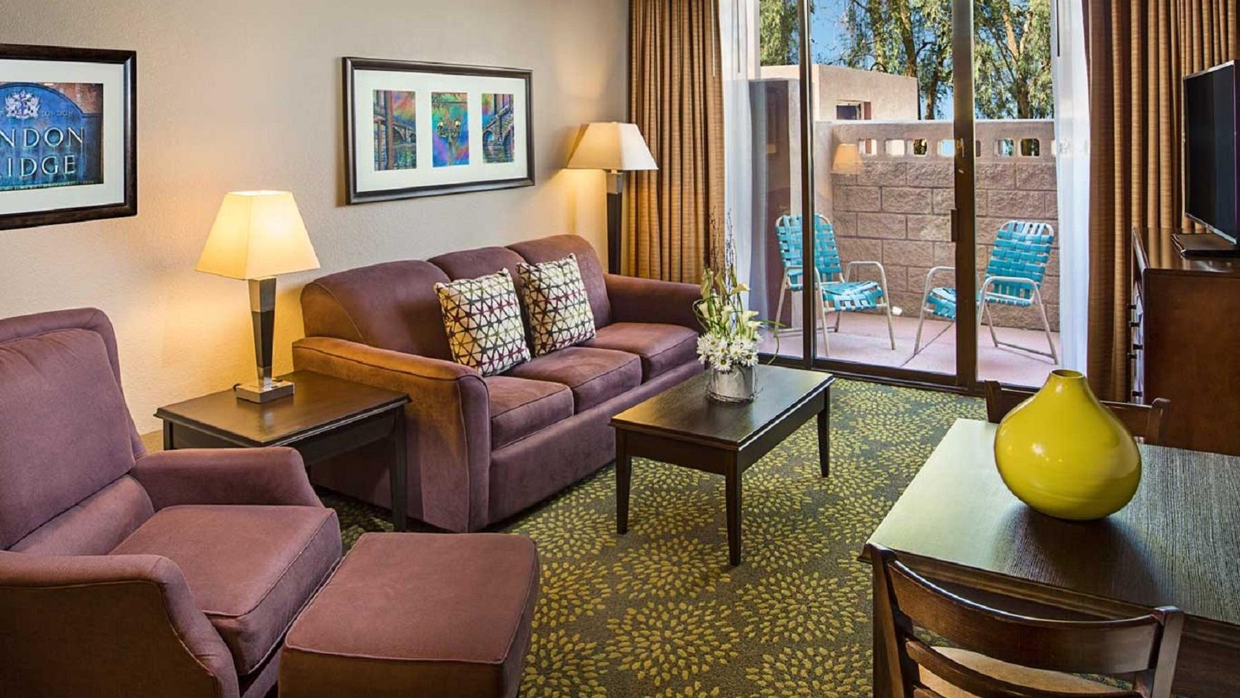Living space in resort suite.