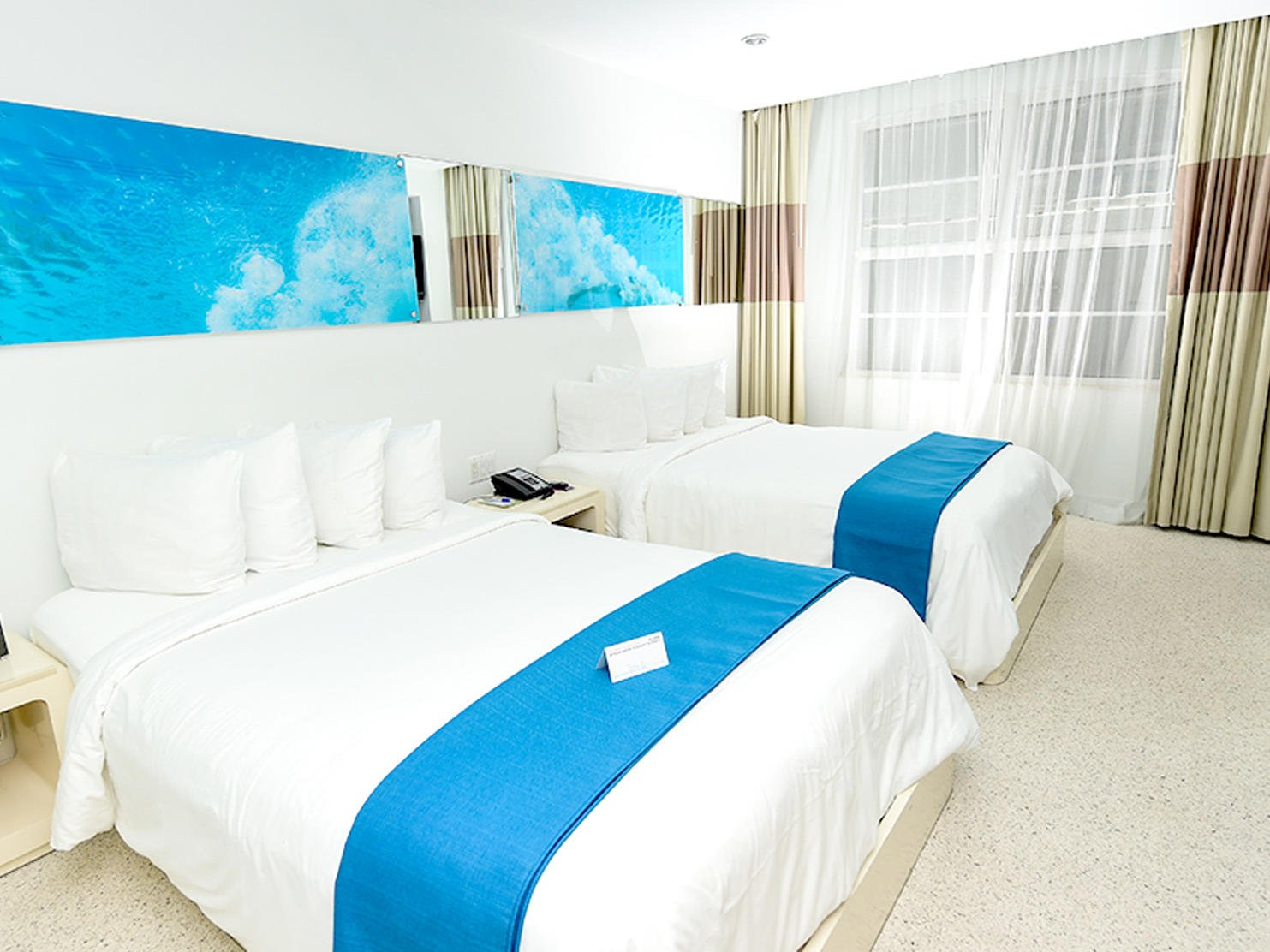 Double beds in Classic double room at Clevelander South Beach