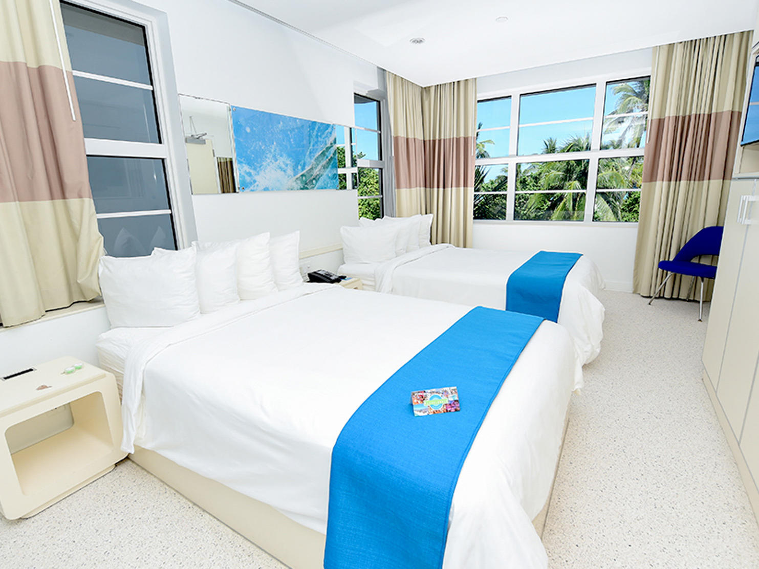 double beds with beach view
