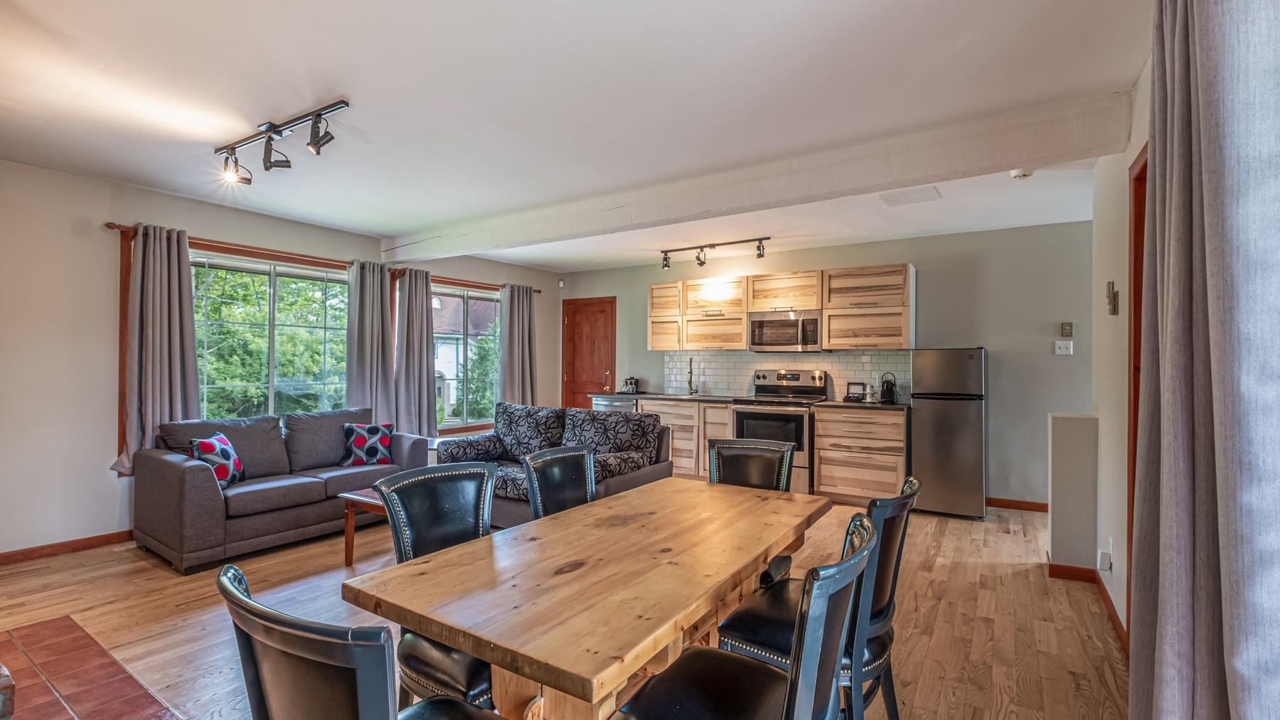 Wooden dining table in chalet living room