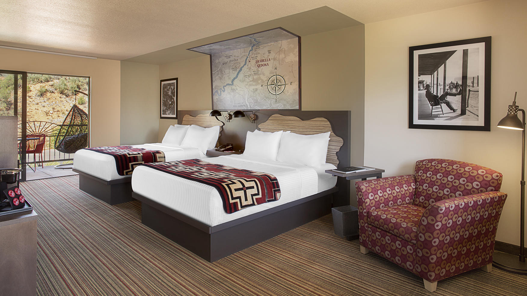 Trailhead hotel room with two queen beds.