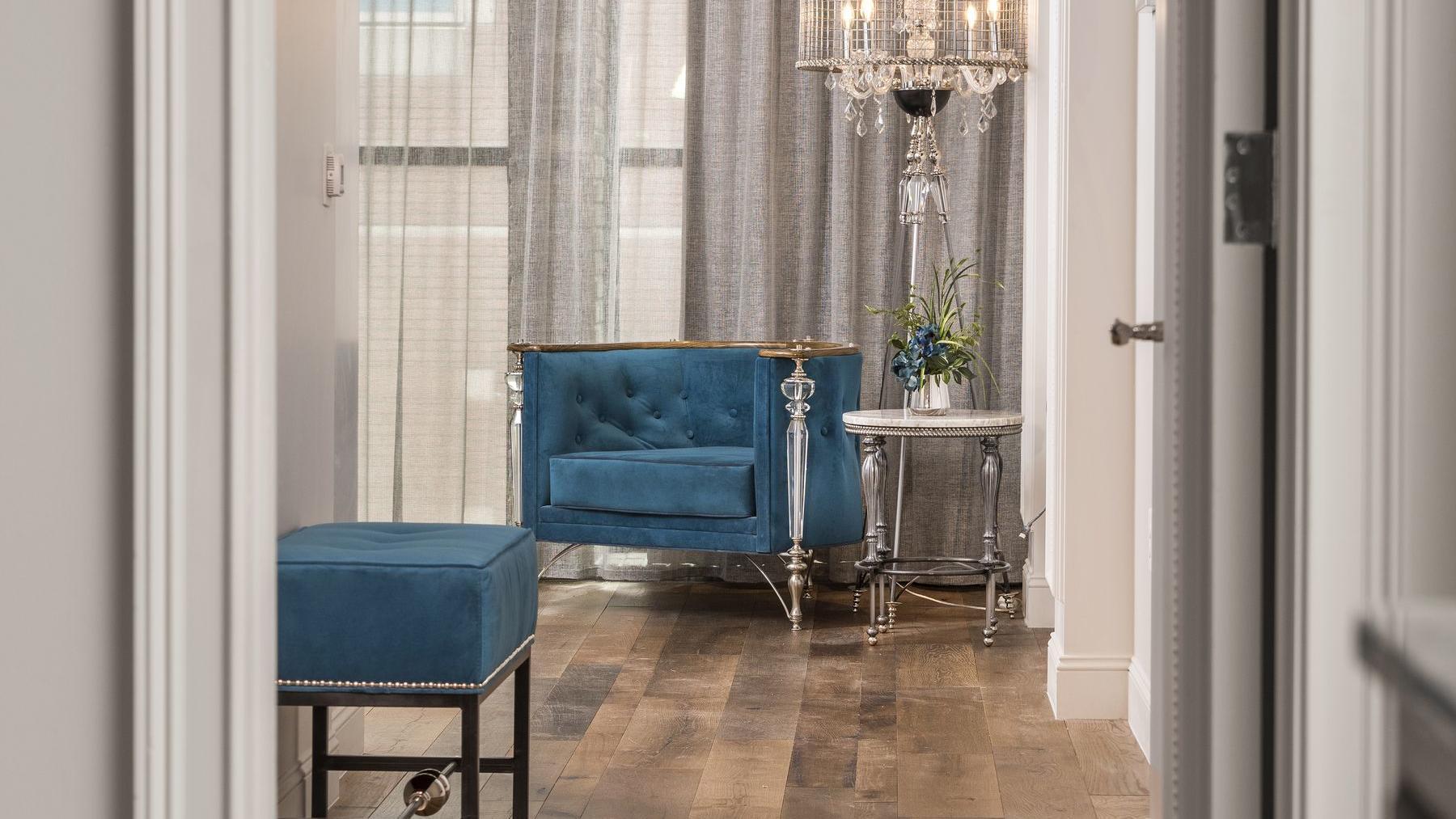 wood floors with blue sofa chair