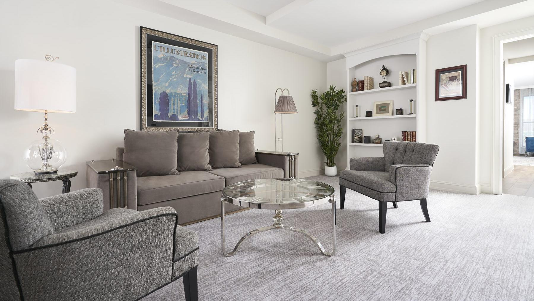 living room furniture with coffee table and carpet