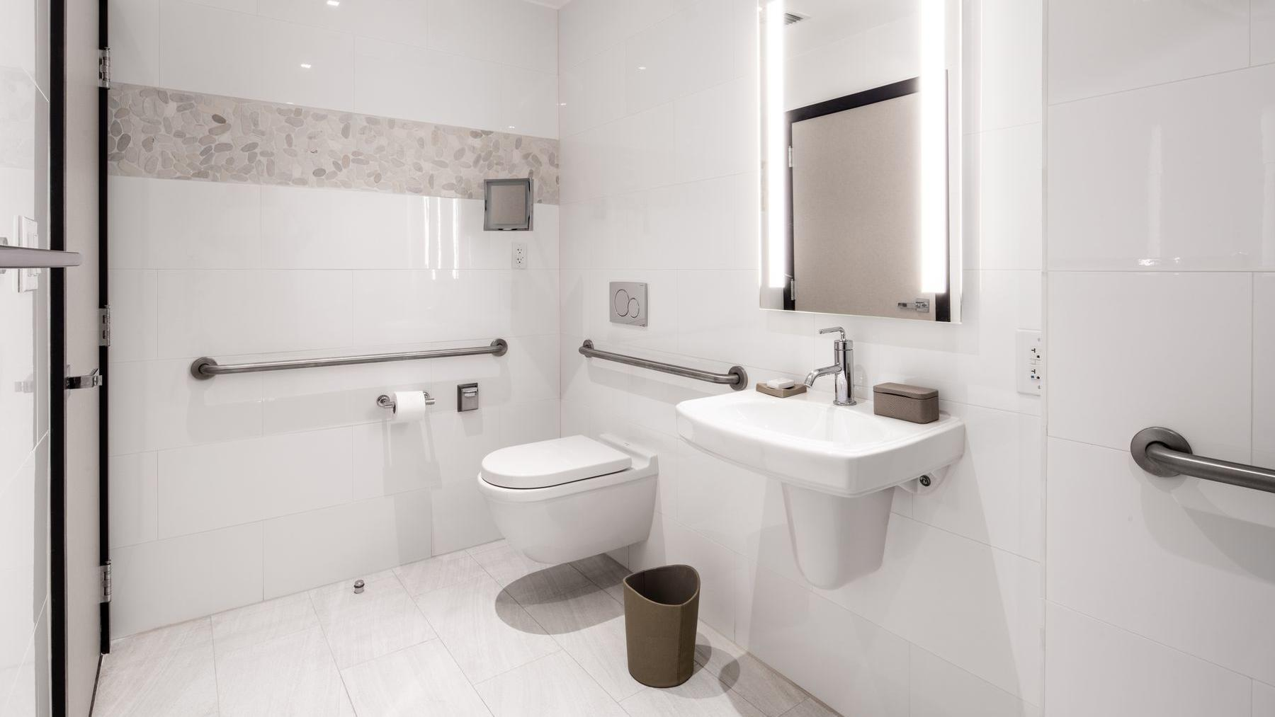 accessible bathroom with toilet and sink