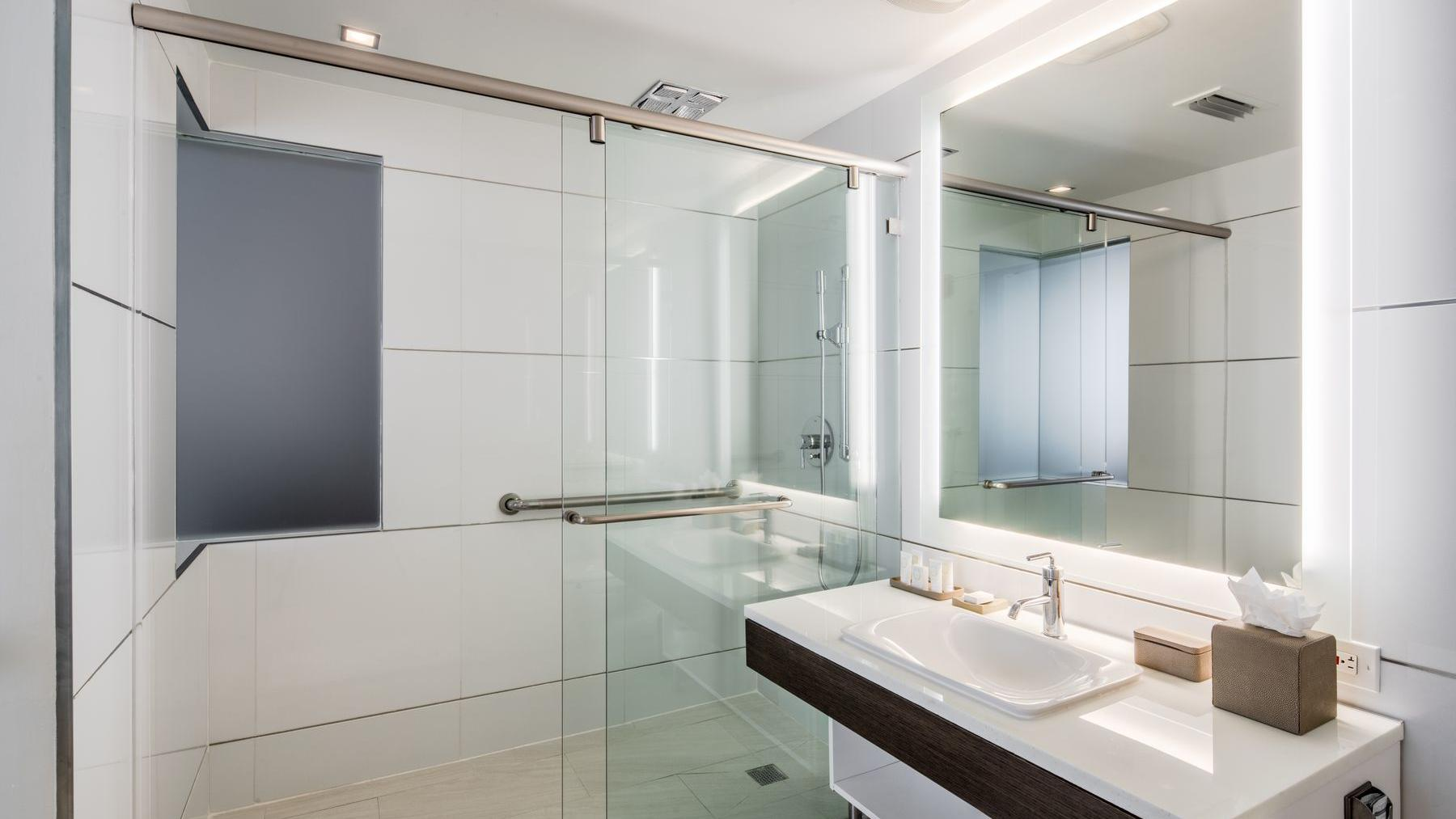 spacious shower in bathroom