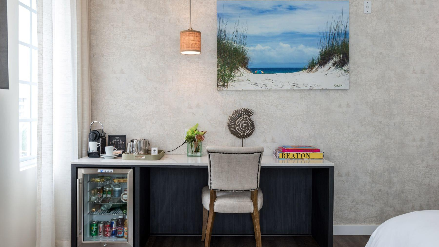 desk with painting of ocean