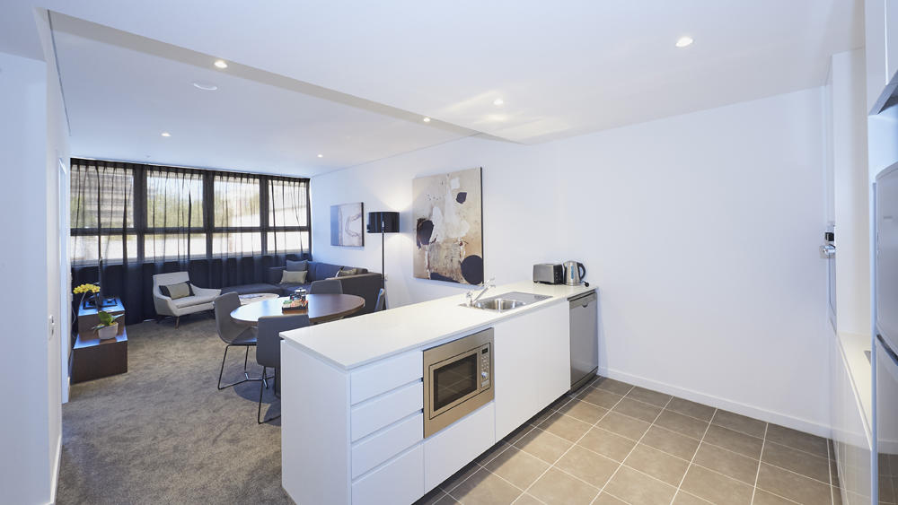 Kitchen and Living Room at Silkari Suites Chatswood