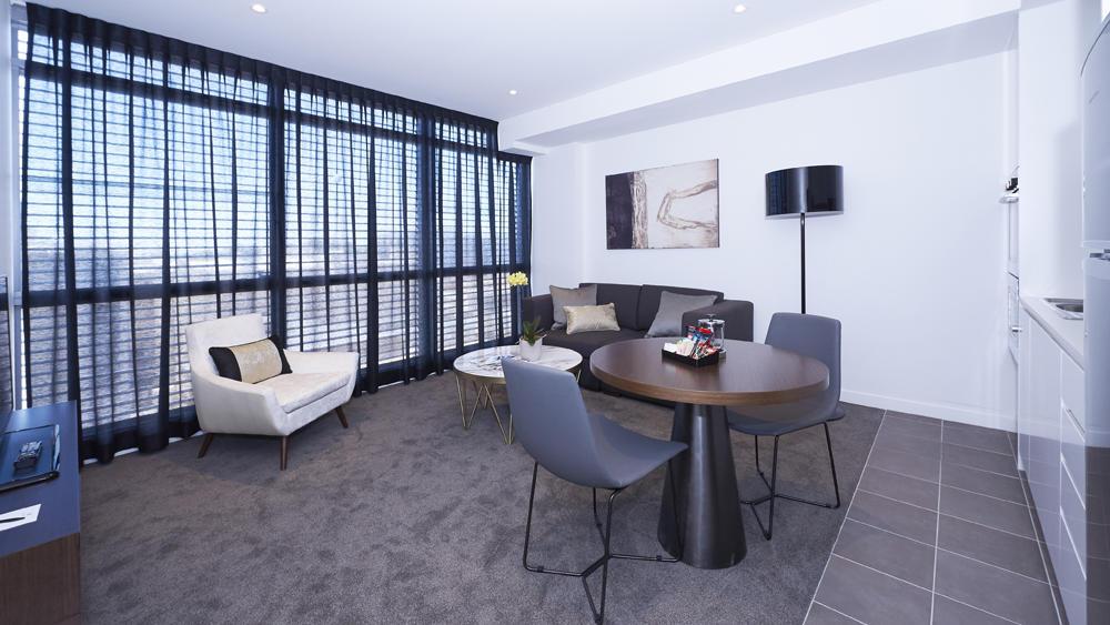 Living and Kitchen at Silkari Suites Chatswood