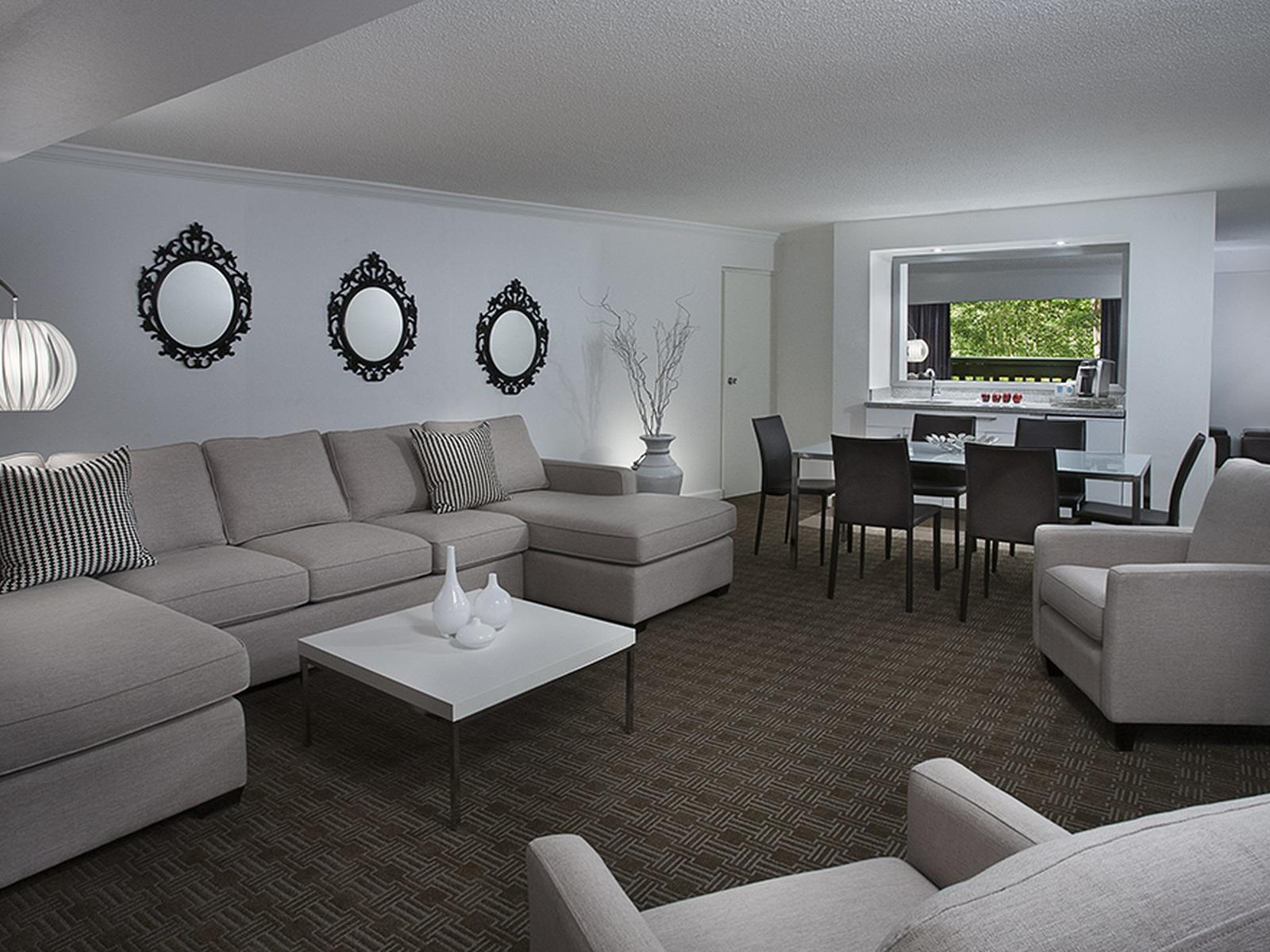 Spacious seating area in hotel room