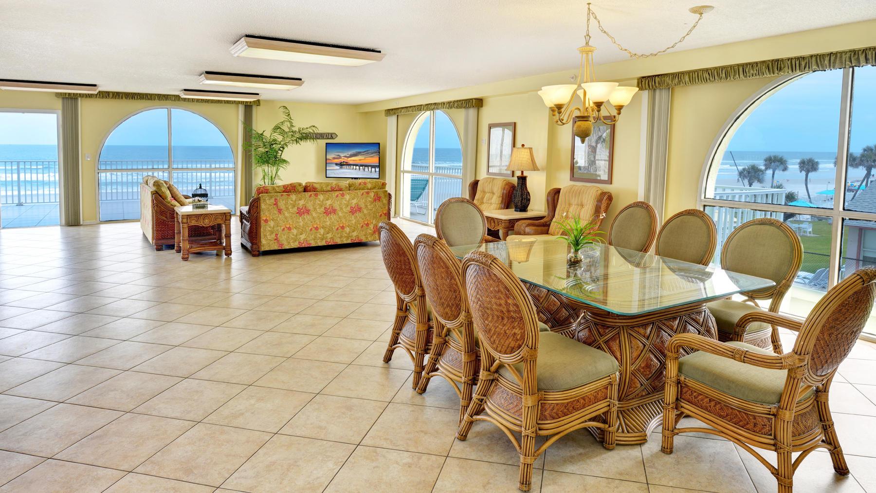 Oceanview hotel suite.