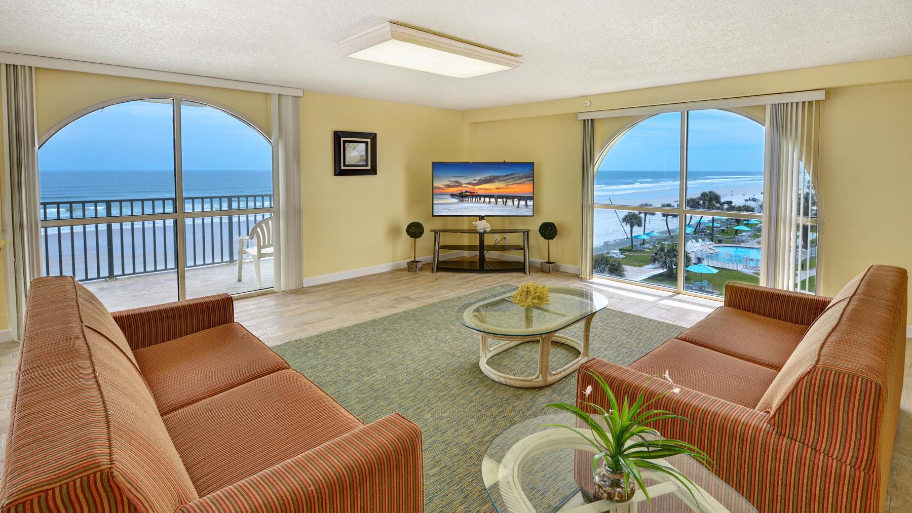 Living area of oceanview hotel room.