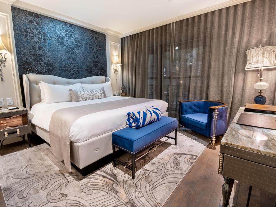 bed in cozy room