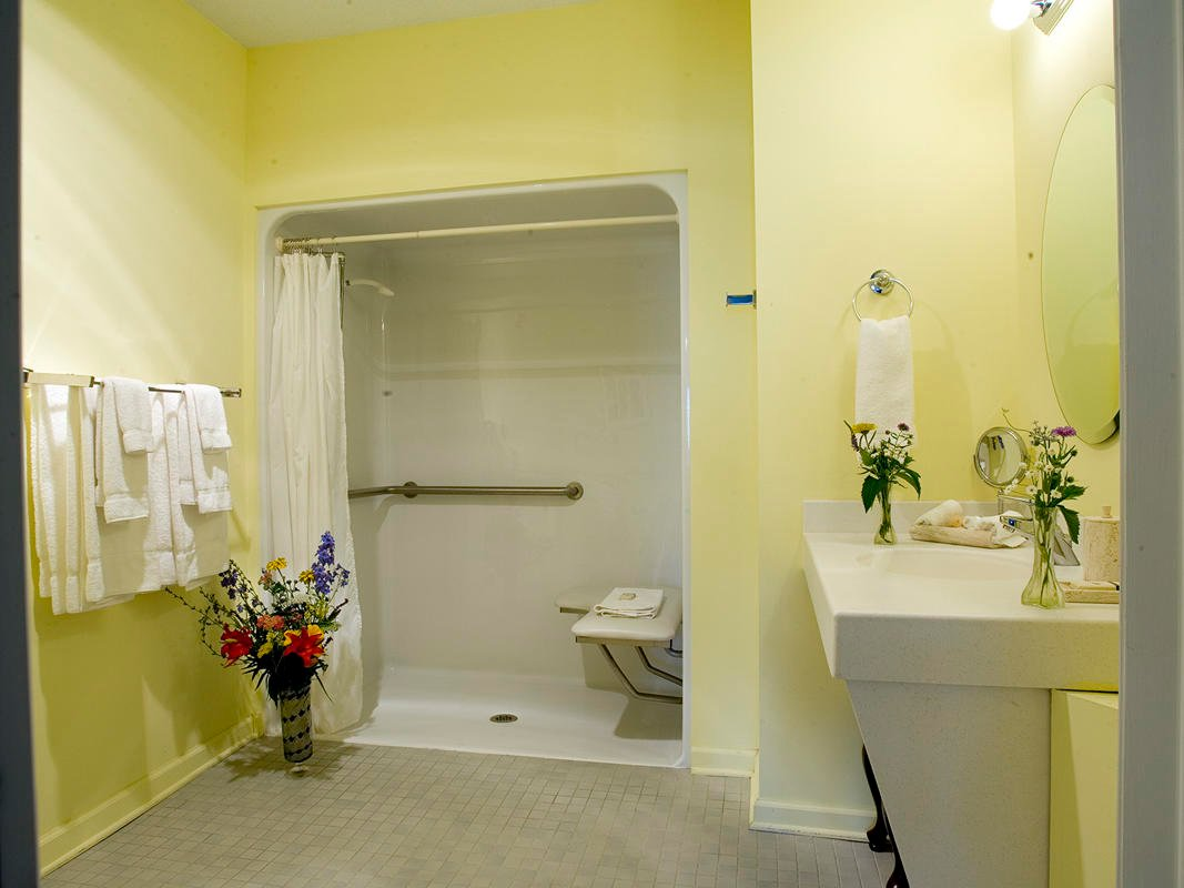 ADA accessible bathroom with roll-in shower, shower chair, and grab bars