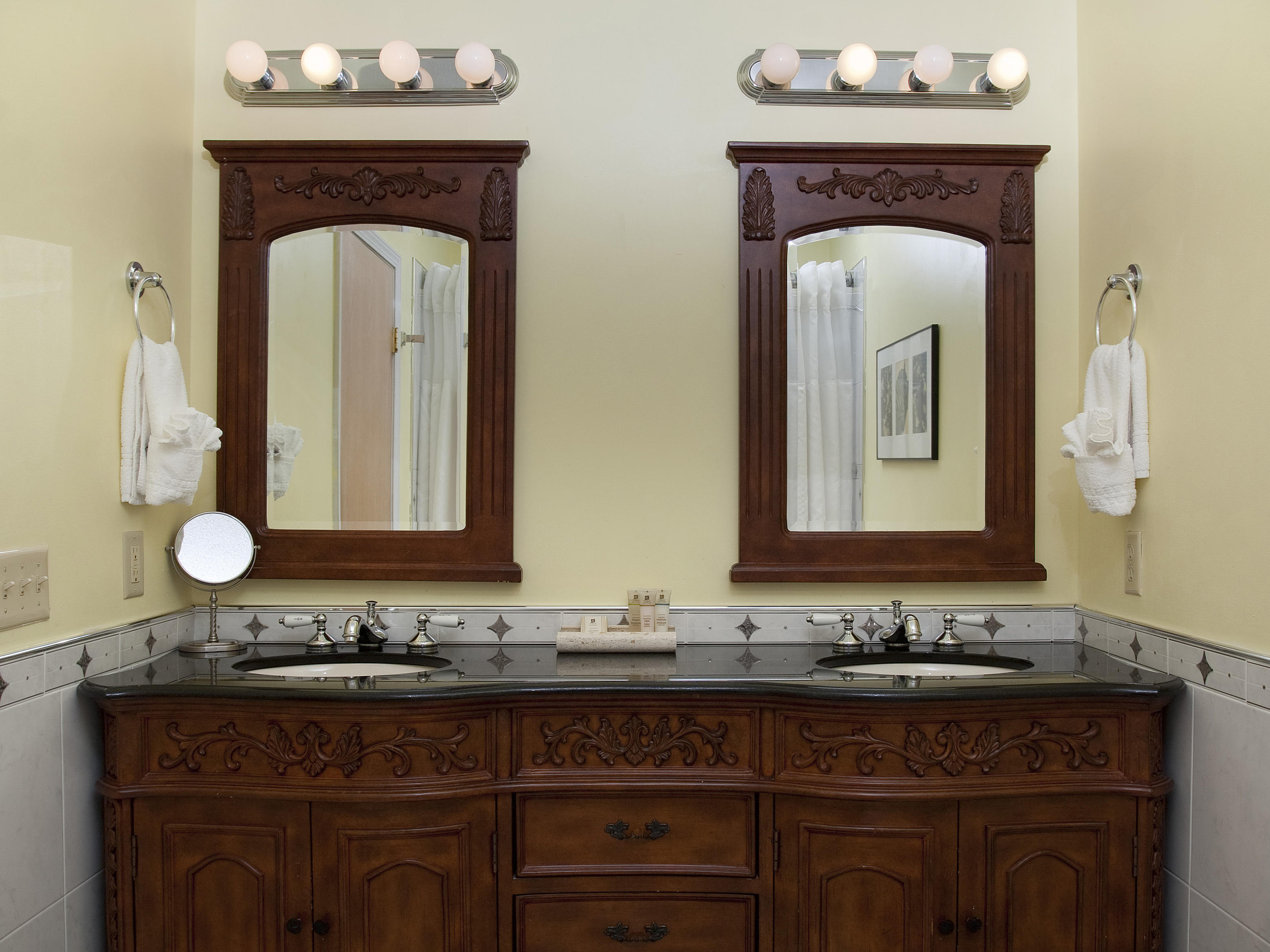 Double Sink Wooden Vanity - Bathroom