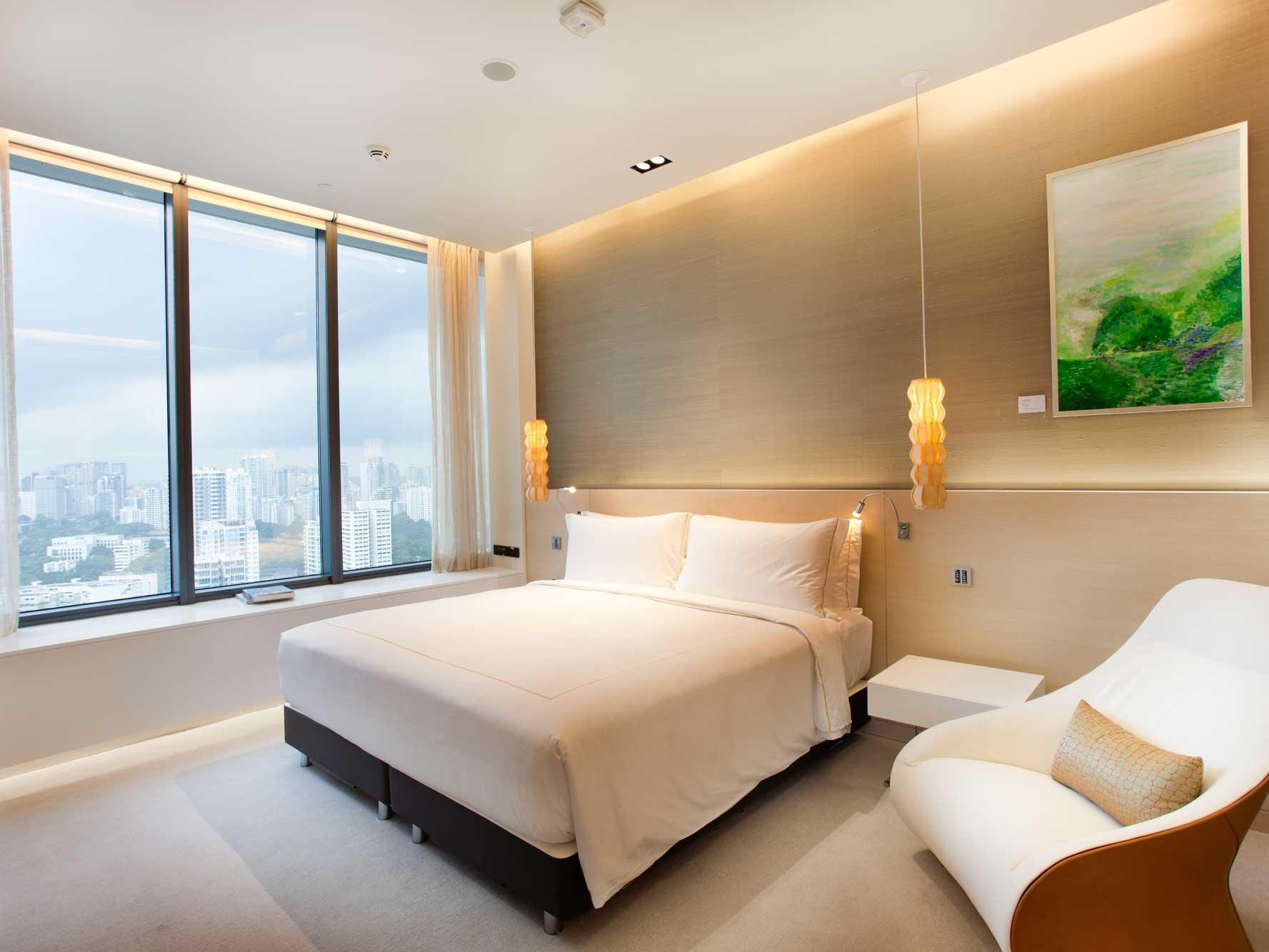 Interior of Peony standard bedroom at one farrer hotel