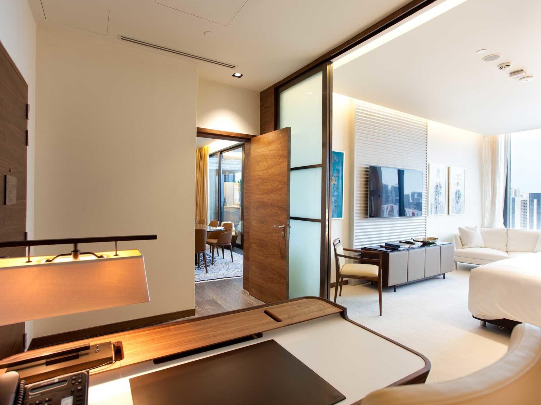 Interior of Presidential standard bedroom with workdesk at one farrer hotel