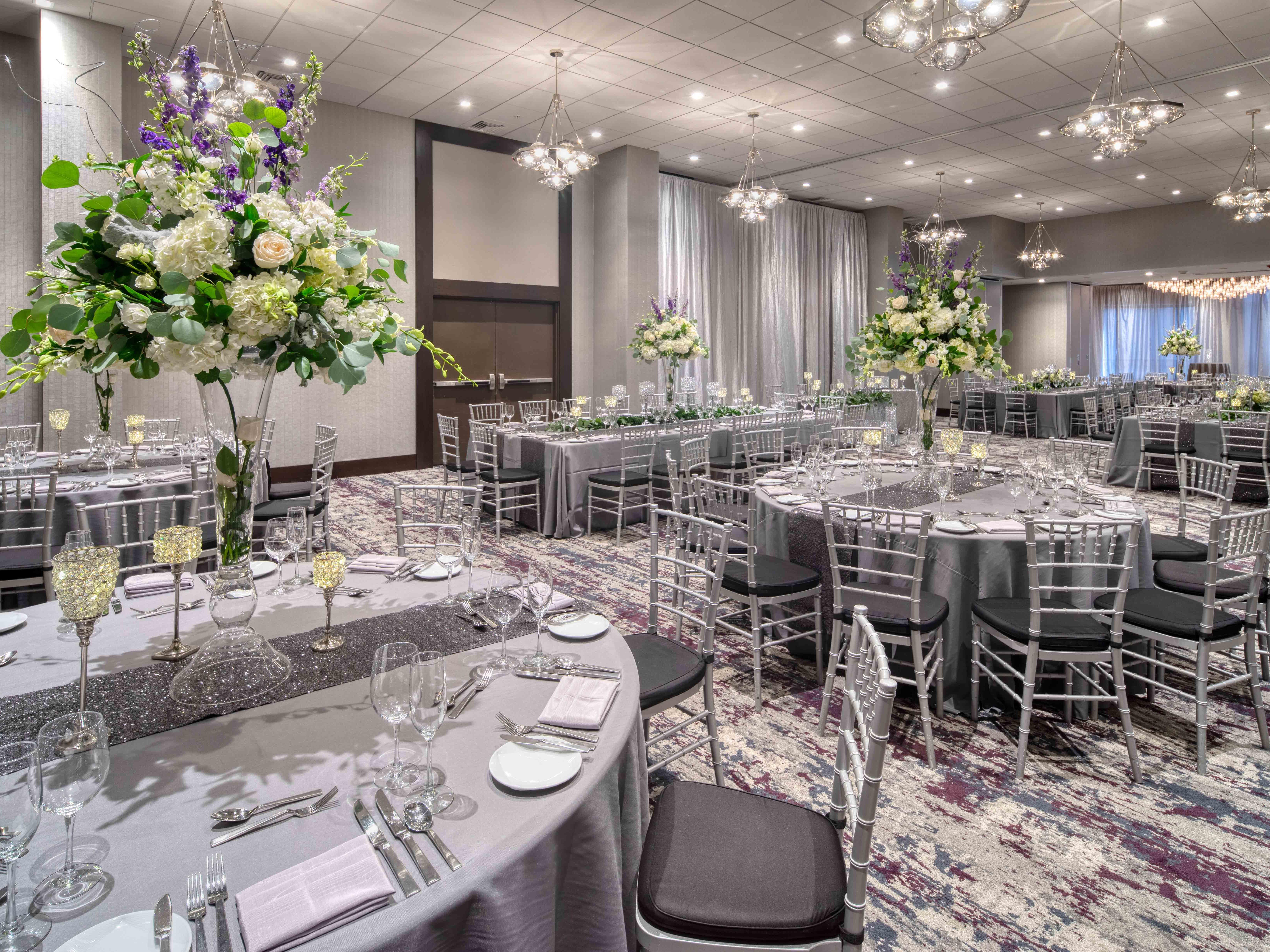 banquet room with elegantly decorated tables
