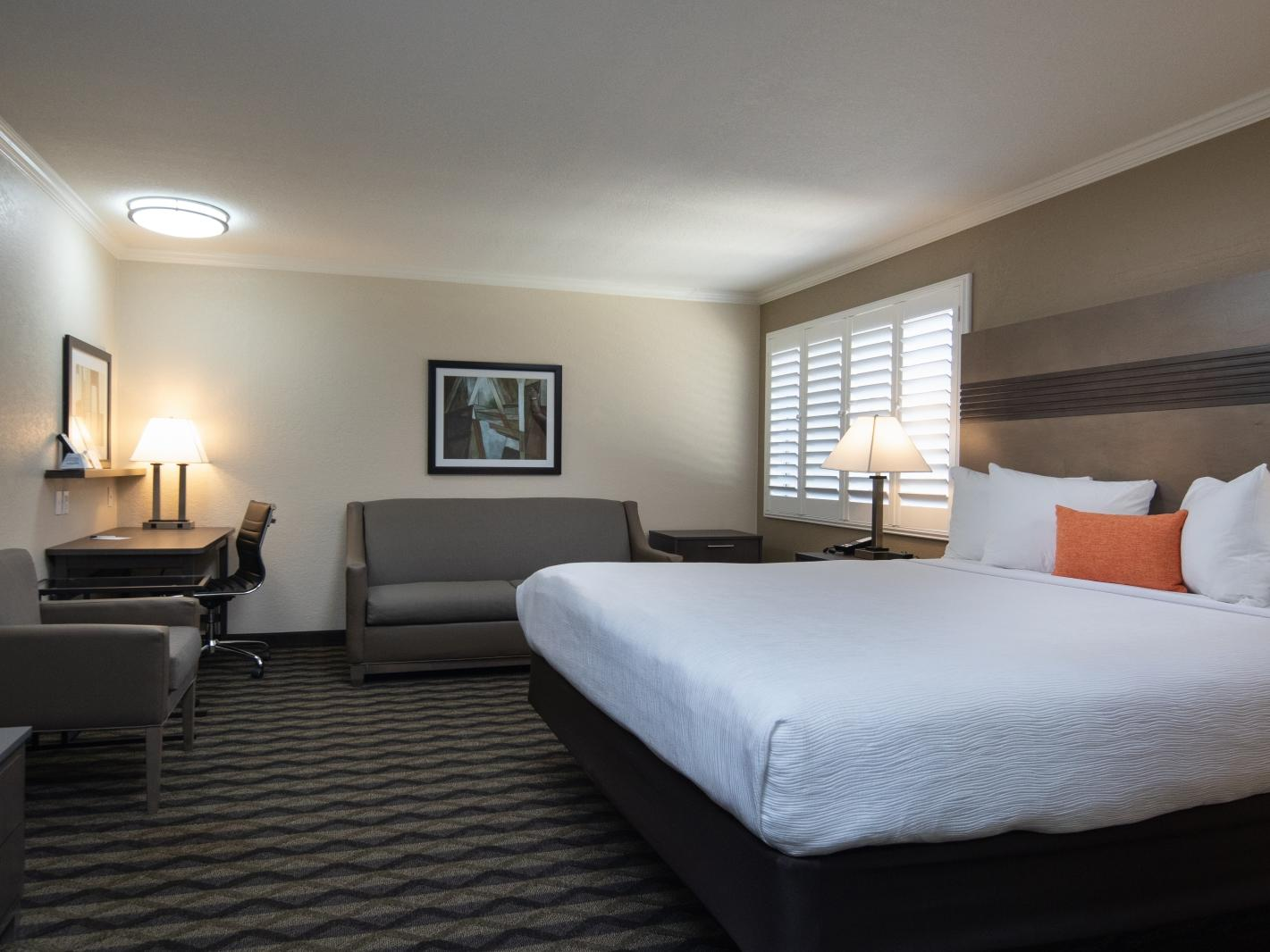 a bed, couch, and desk in a hotel room