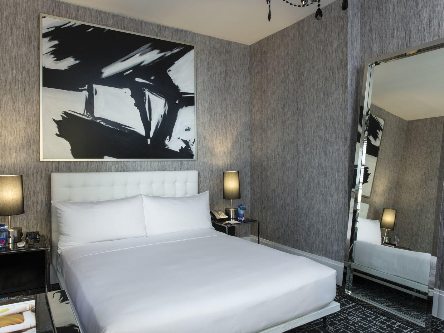 a large bed in a hotel room