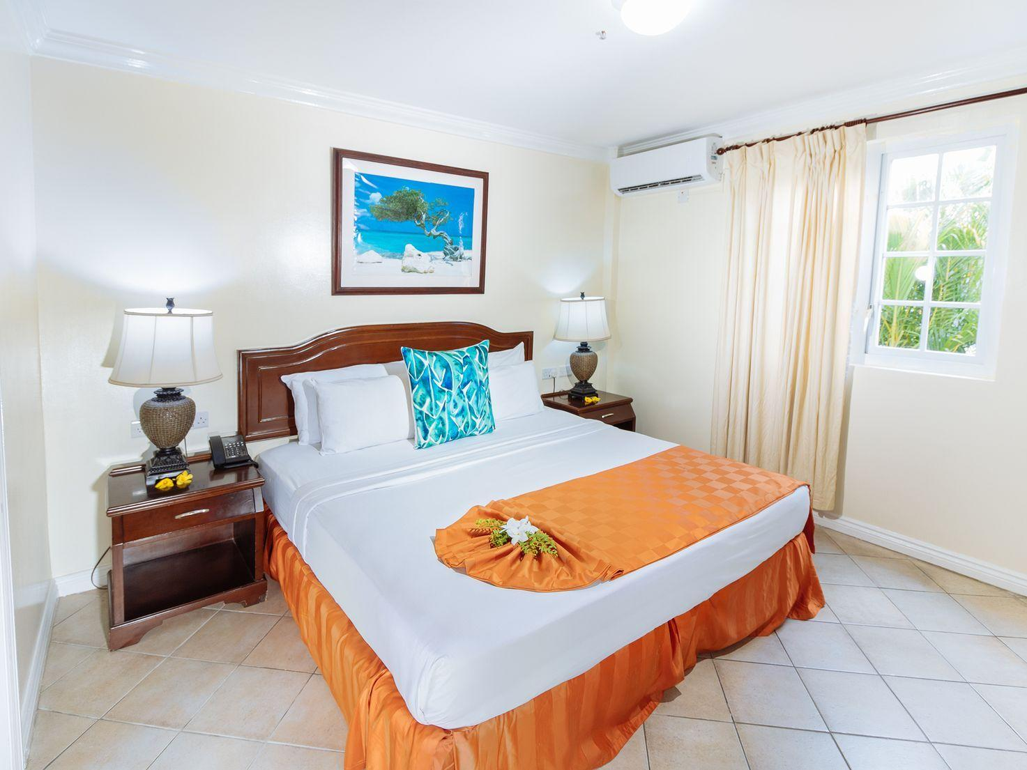 room with orange accents