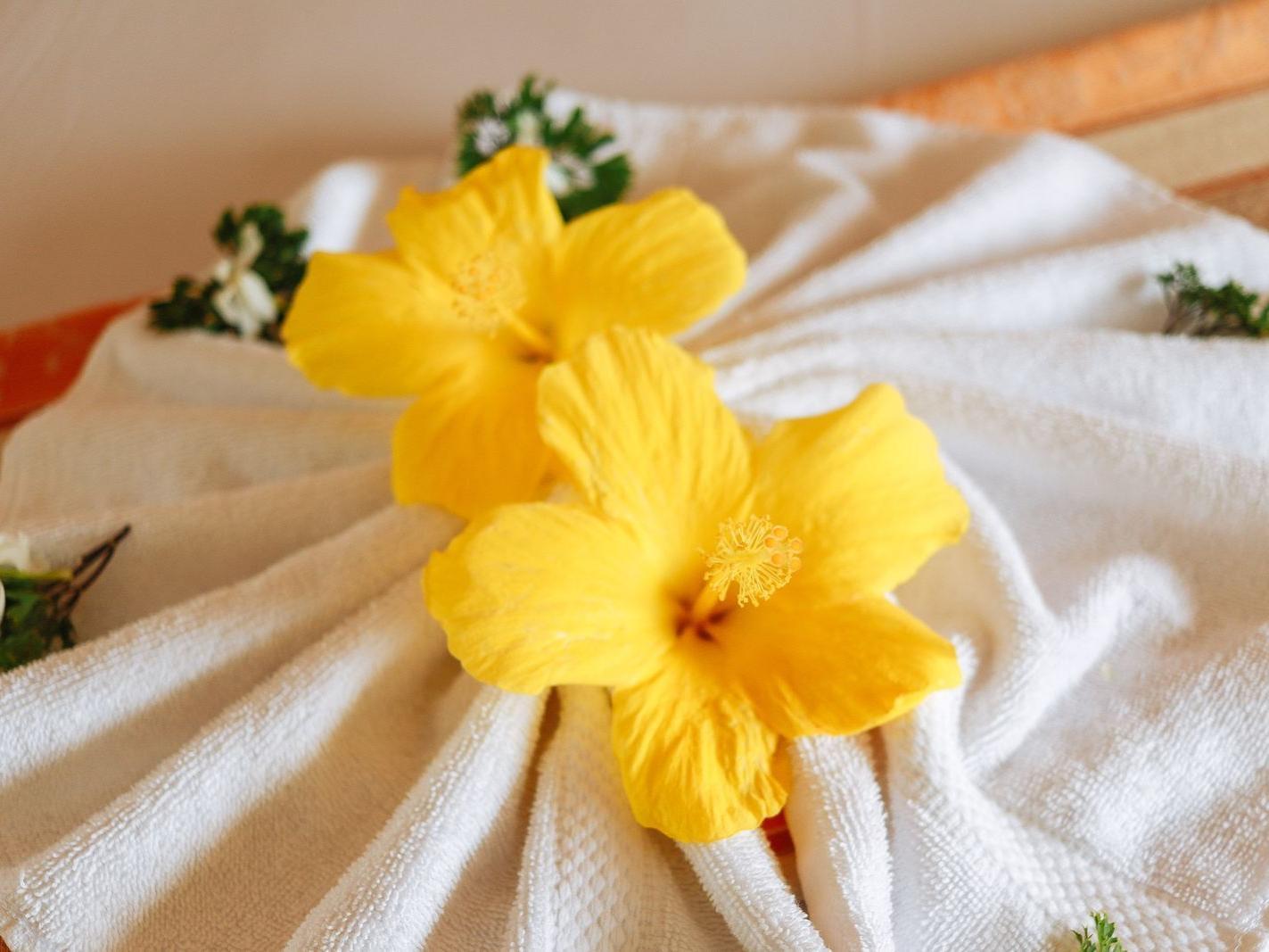 flowers on towel