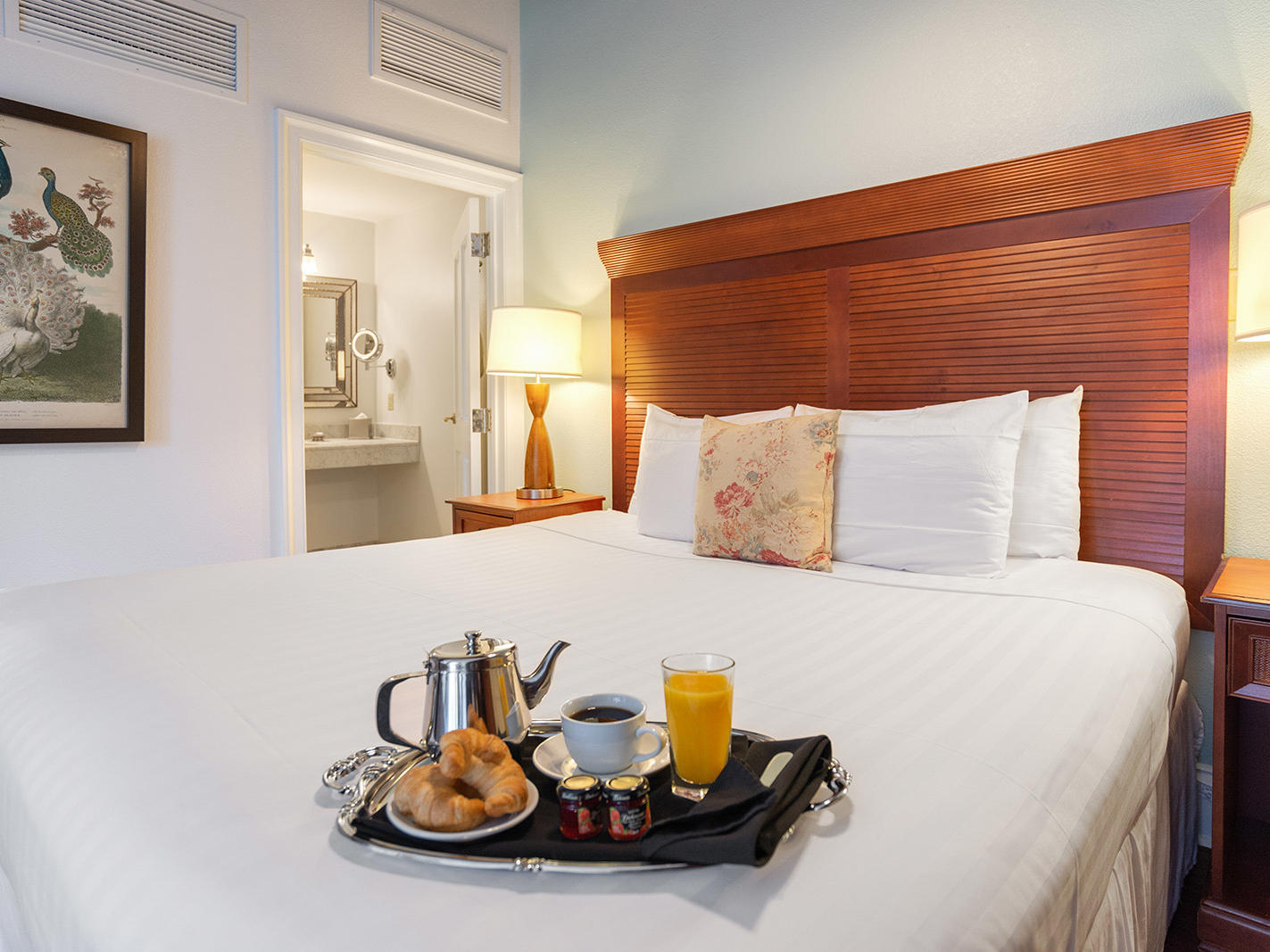 Breakfast on bed in Traditional One Queen Bed Room at St. James Hotel