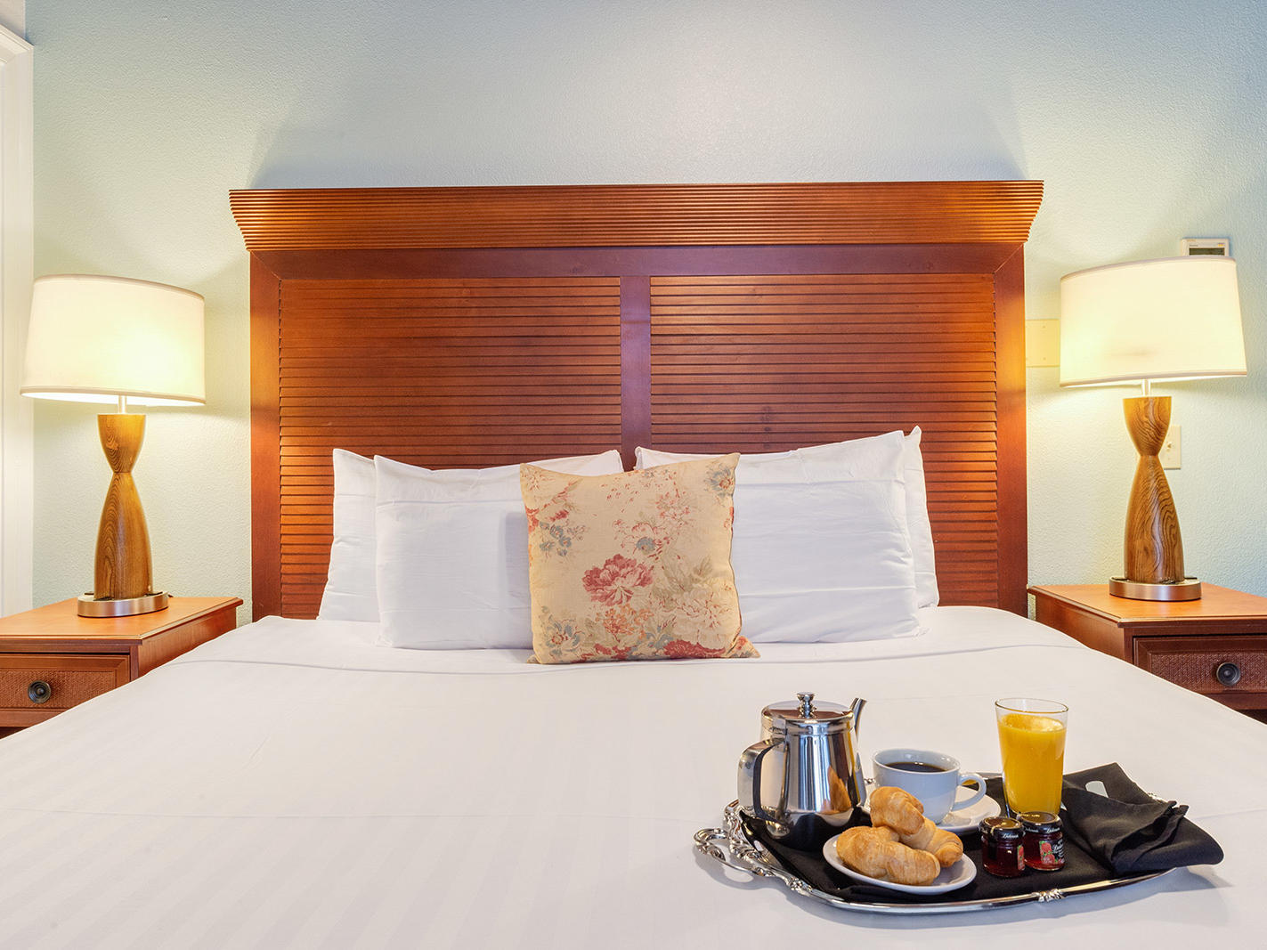 Breakfast on bed in the Intimate Room at St. James Hotel