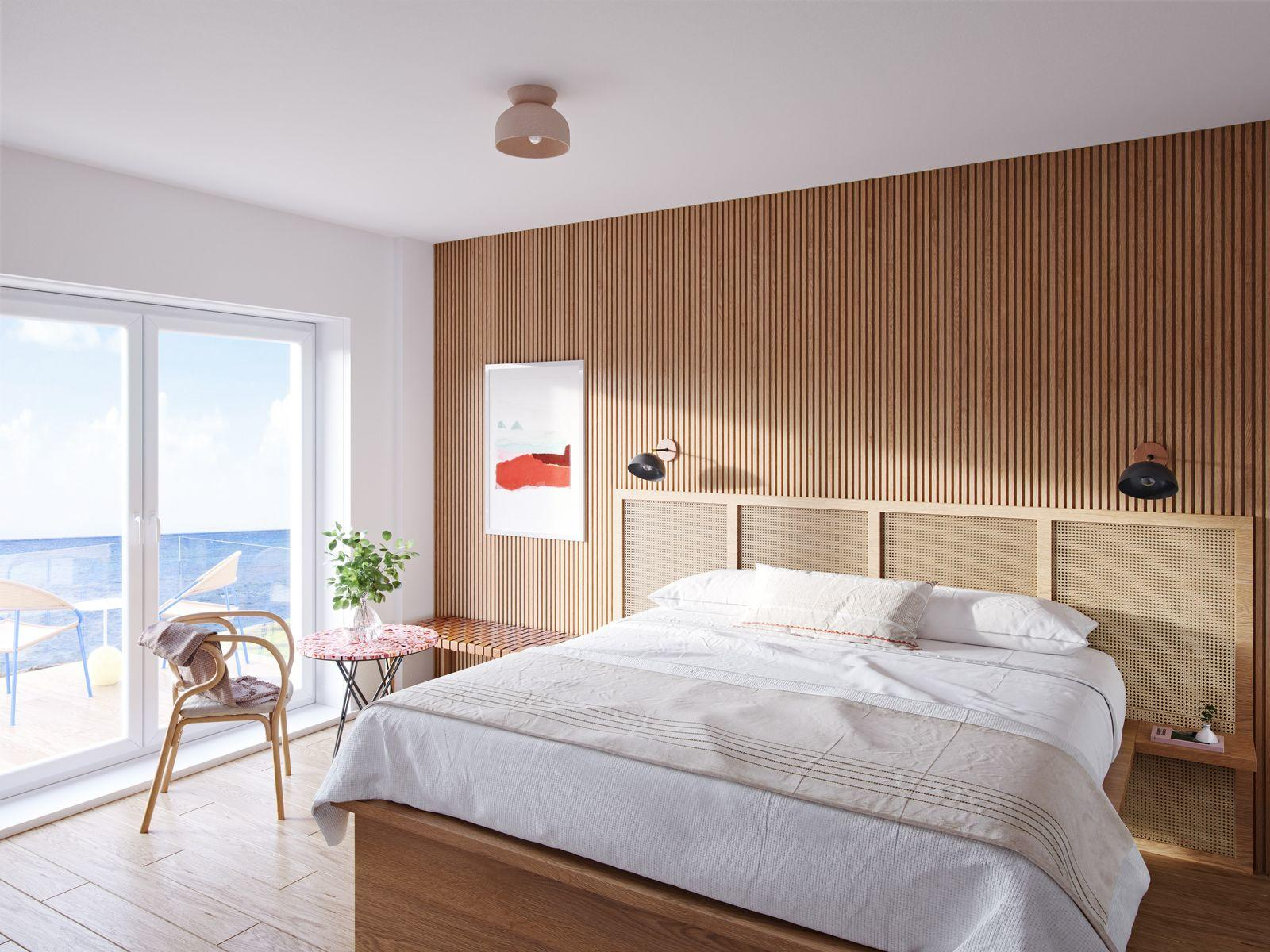 bed with sliding doors