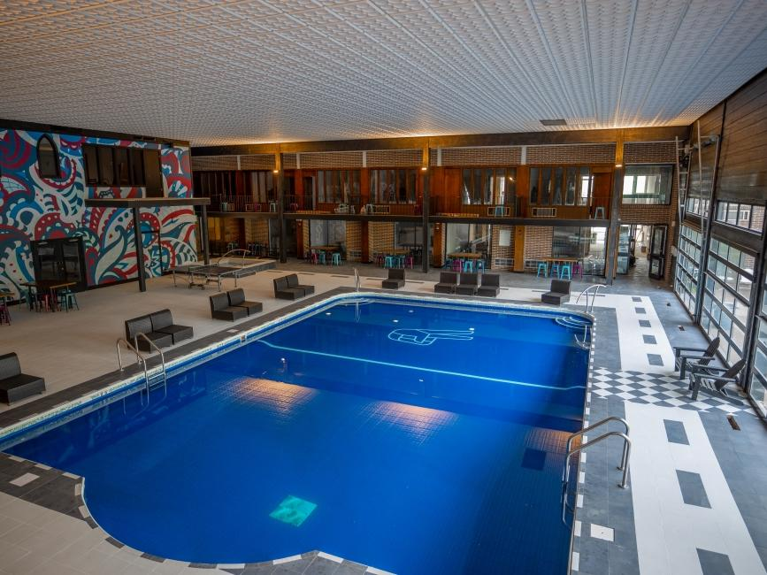 a large indoor pool at a hotel