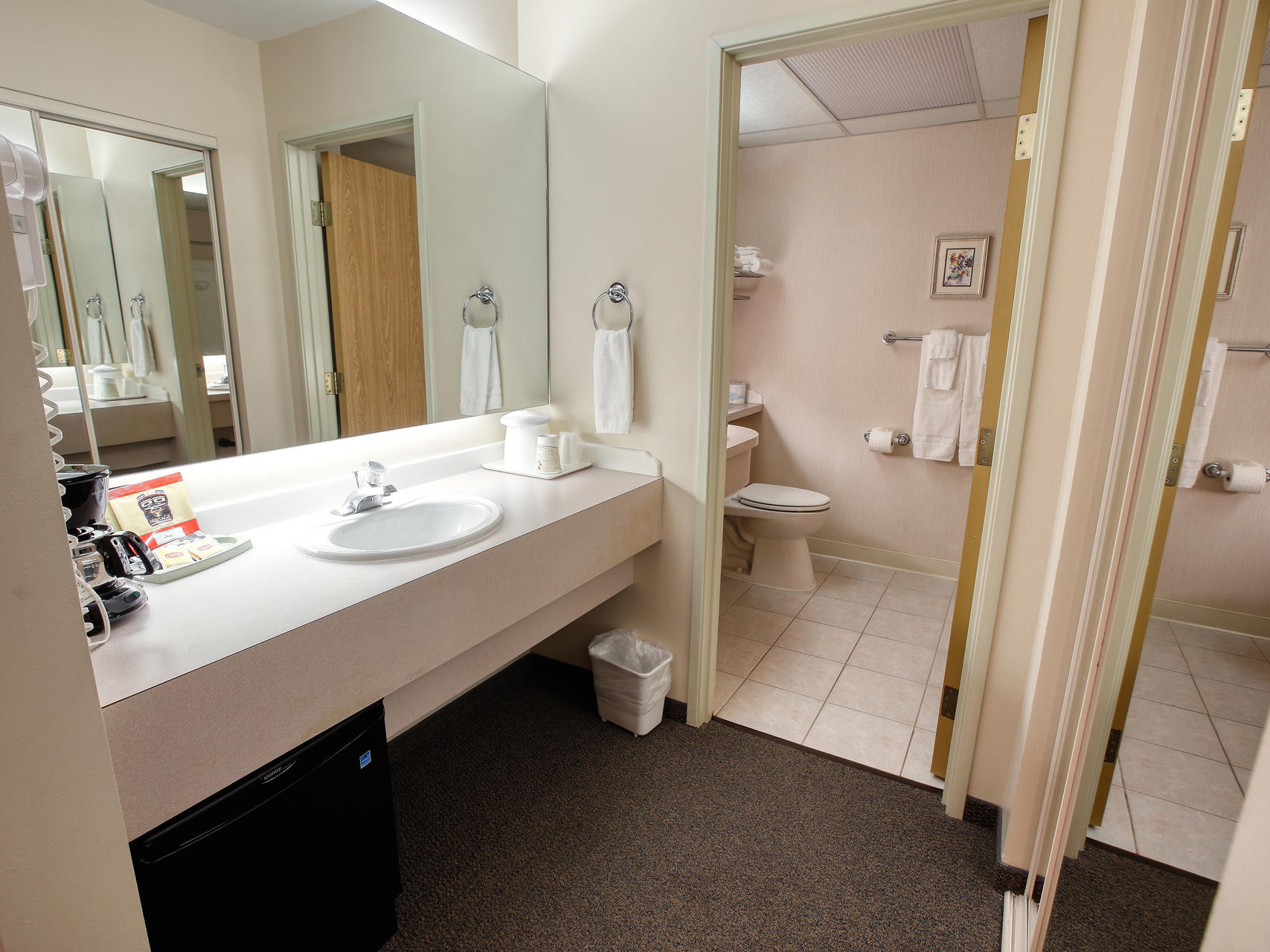 Bathroom view of Single Queen room at Bear Lodge