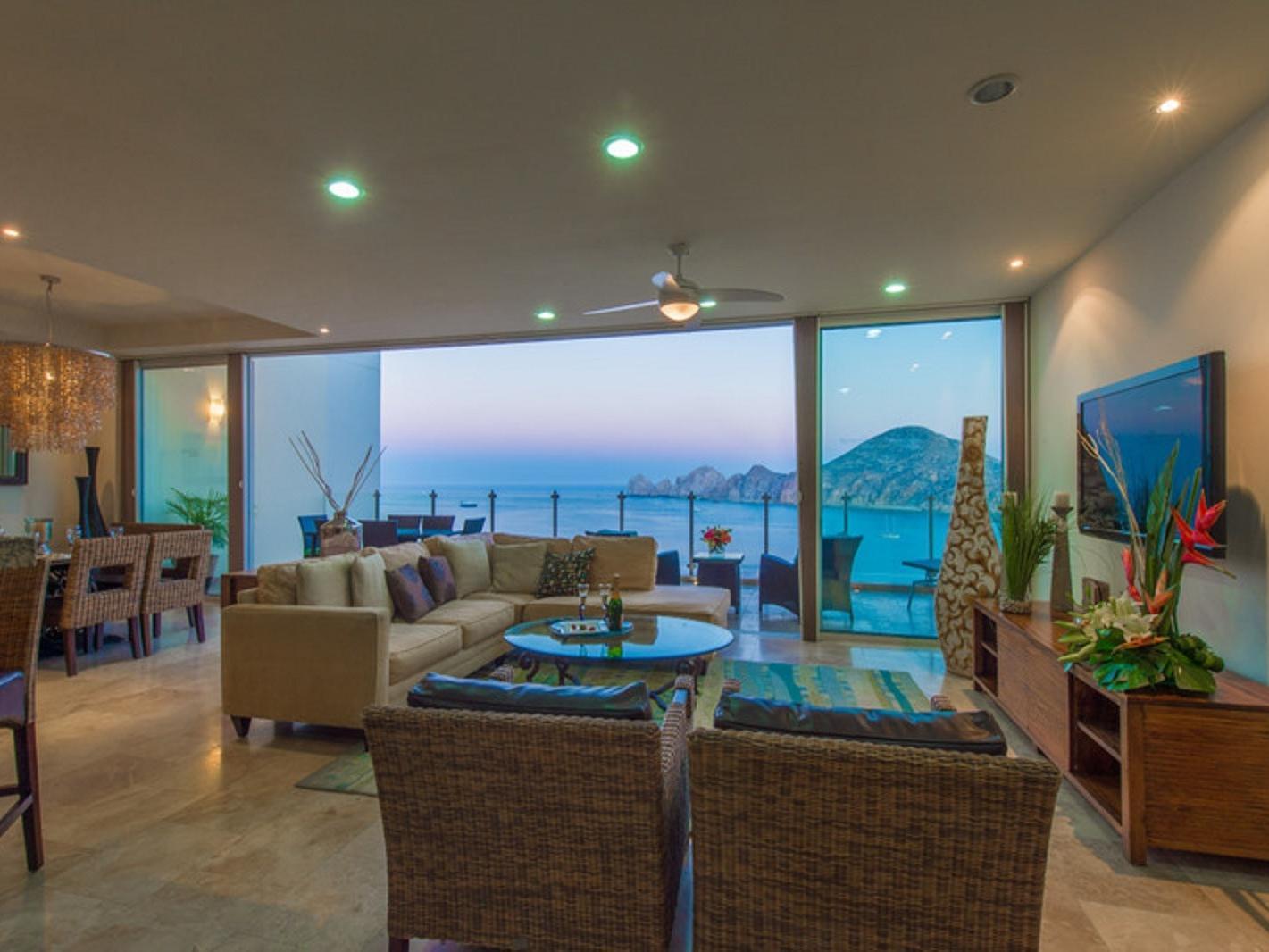 open balcony doors and living room