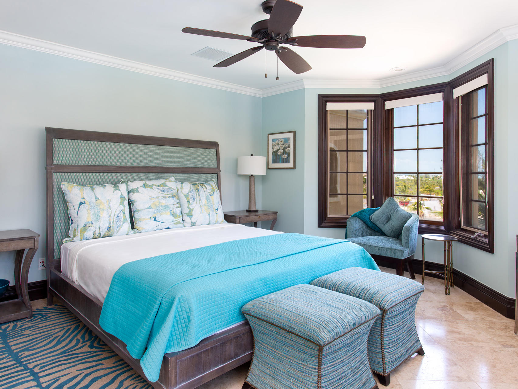 King bed in Three Bedroom Ocean View at Somerset On Grace Bay