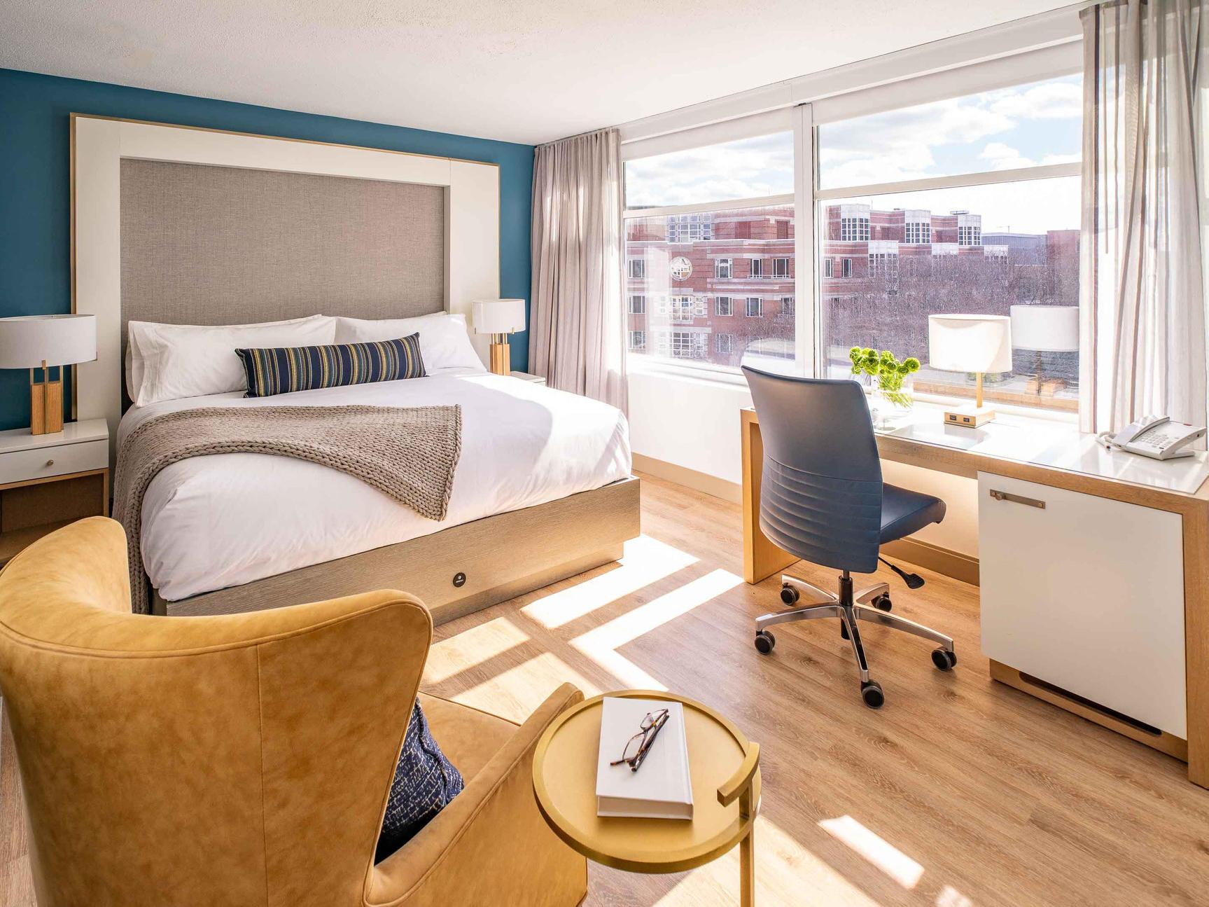 spacious hotel room overlooking harvard square