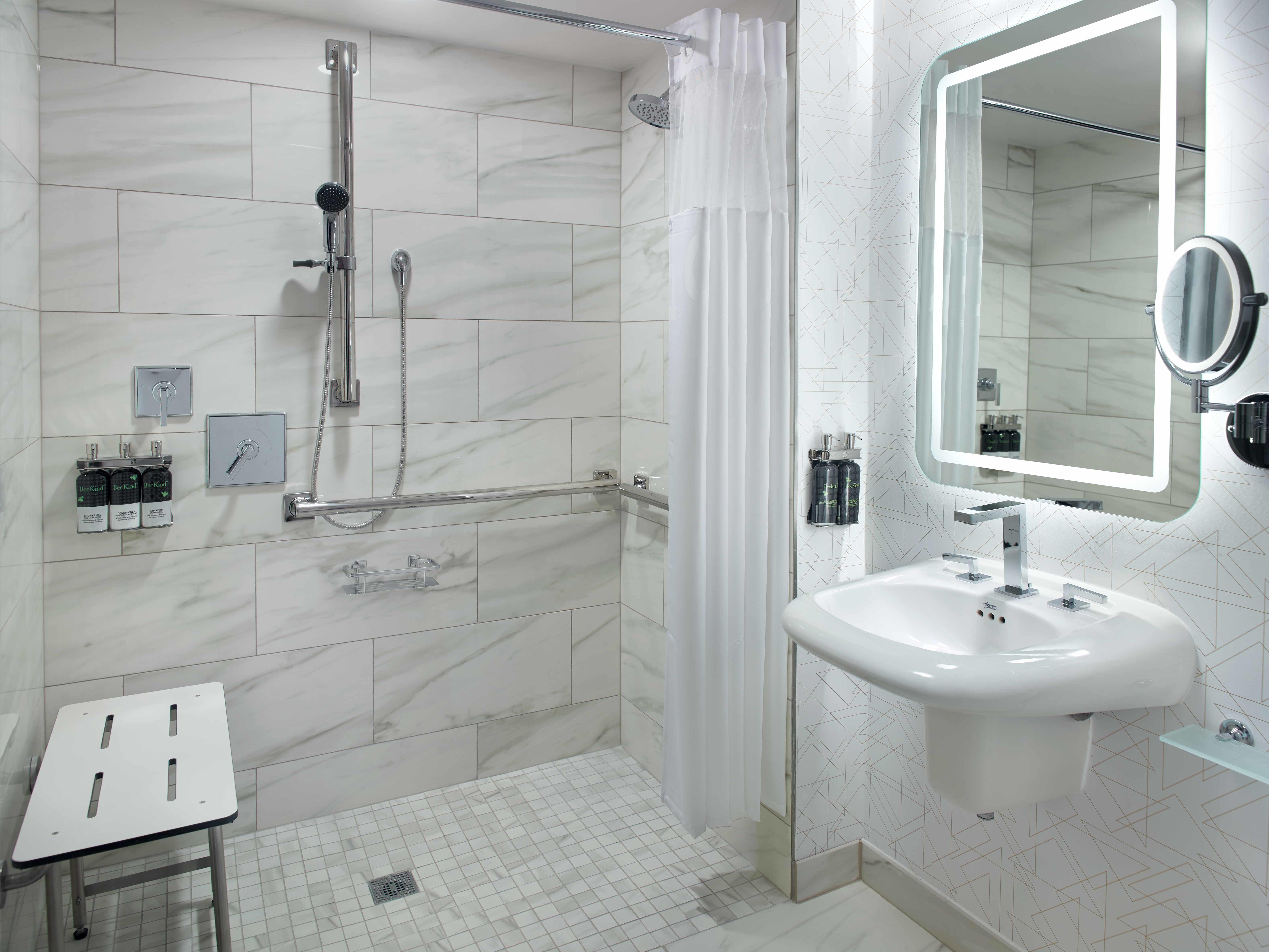 Georgia Tech Hotel Accessible Bathroom - Roll In Shower