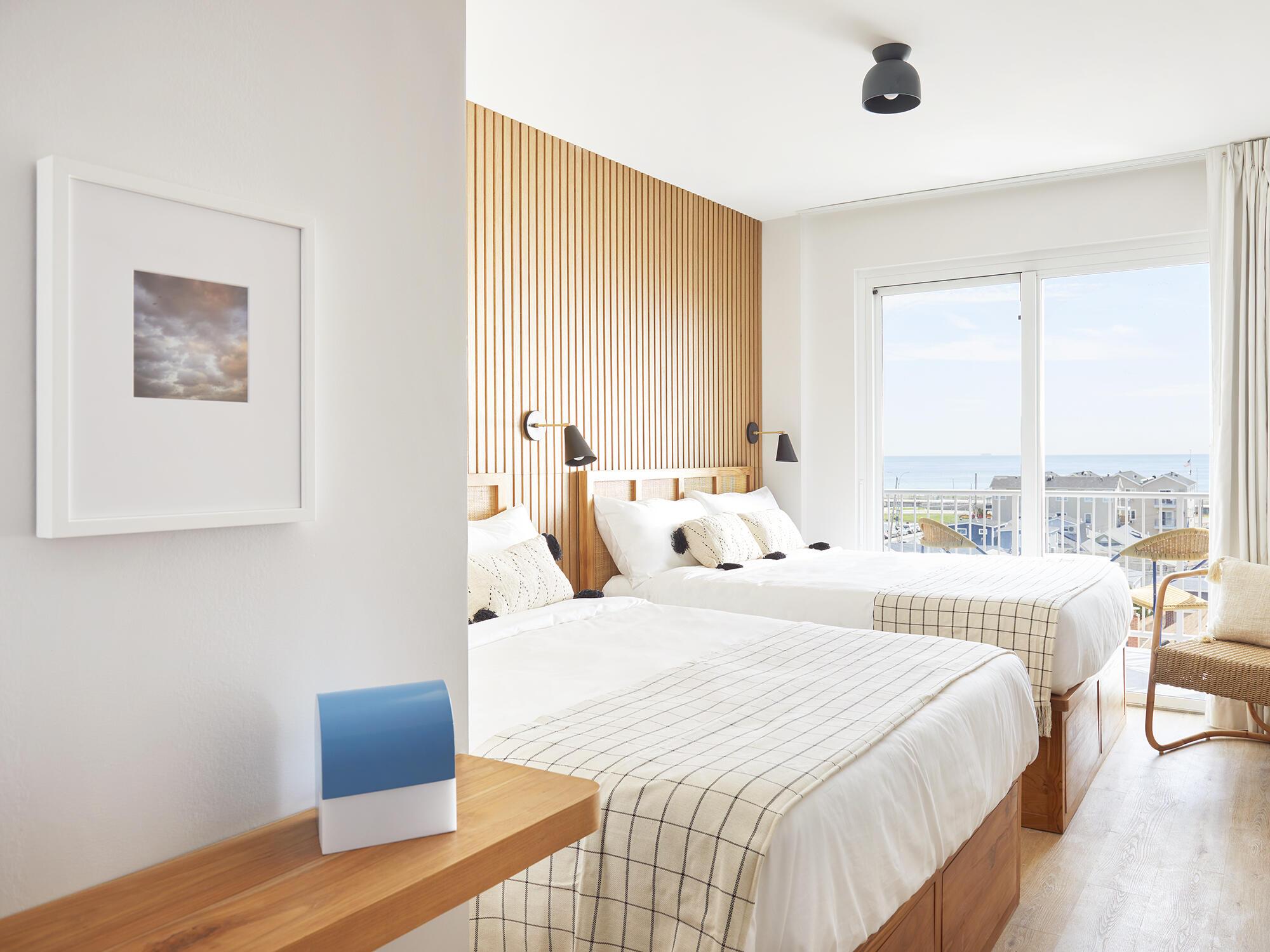 Deluxe Two Queen Ocean View room at The Rockaway Hotel
