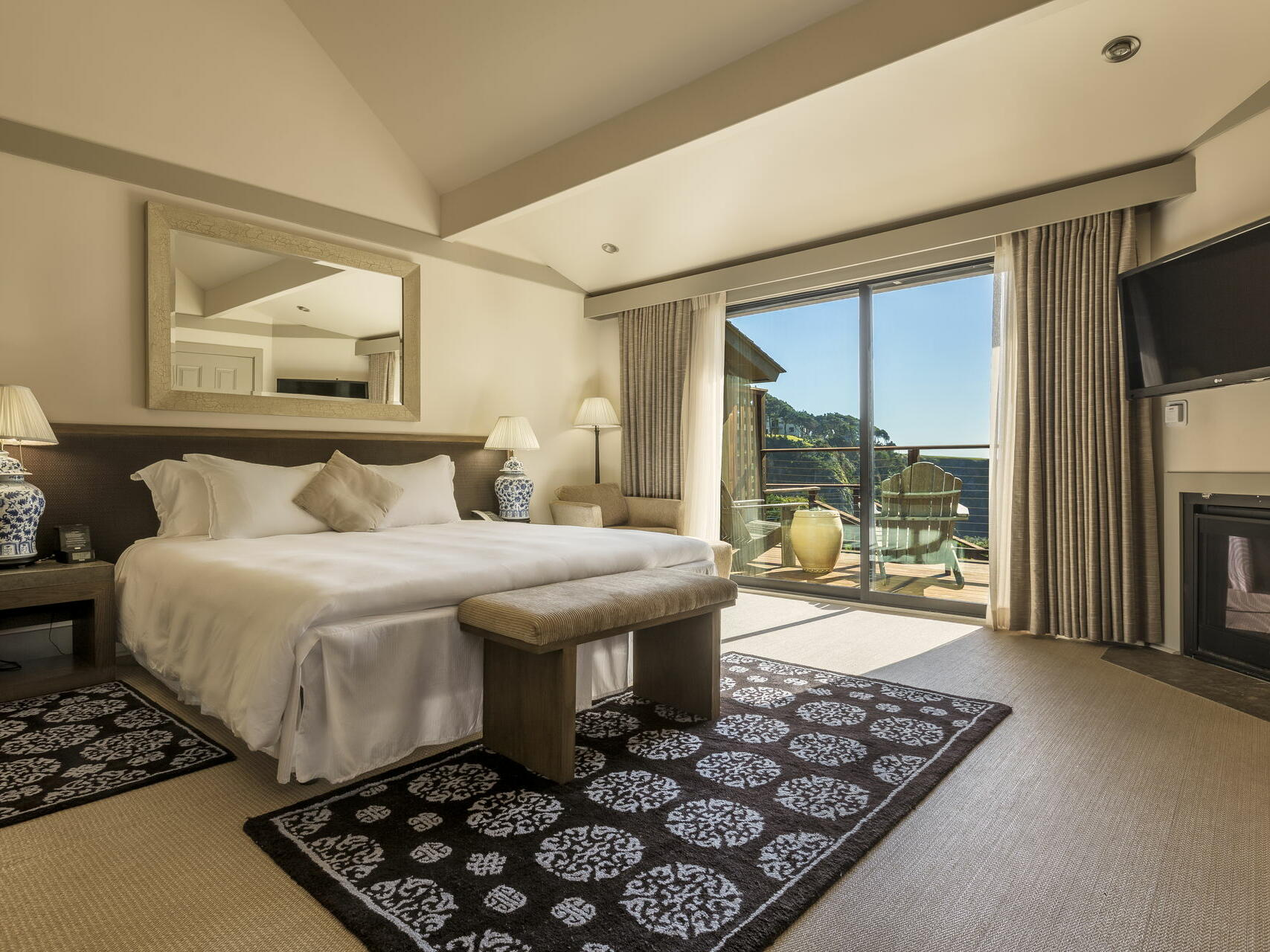 Ocean View King bedroom with kingbed at Heritage House Resort