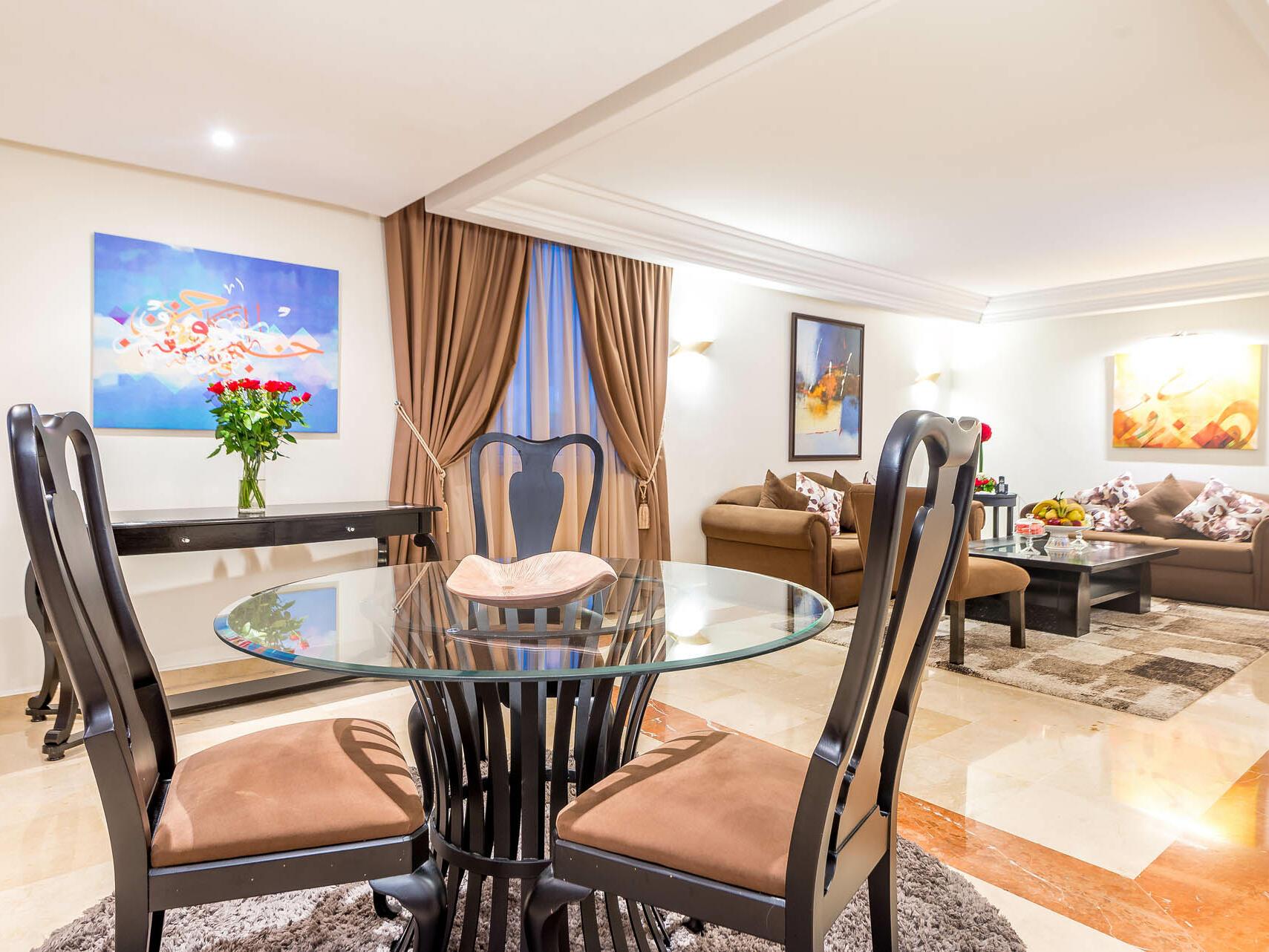Table and Sofa inside the Room -   Farah Rabat Hotel