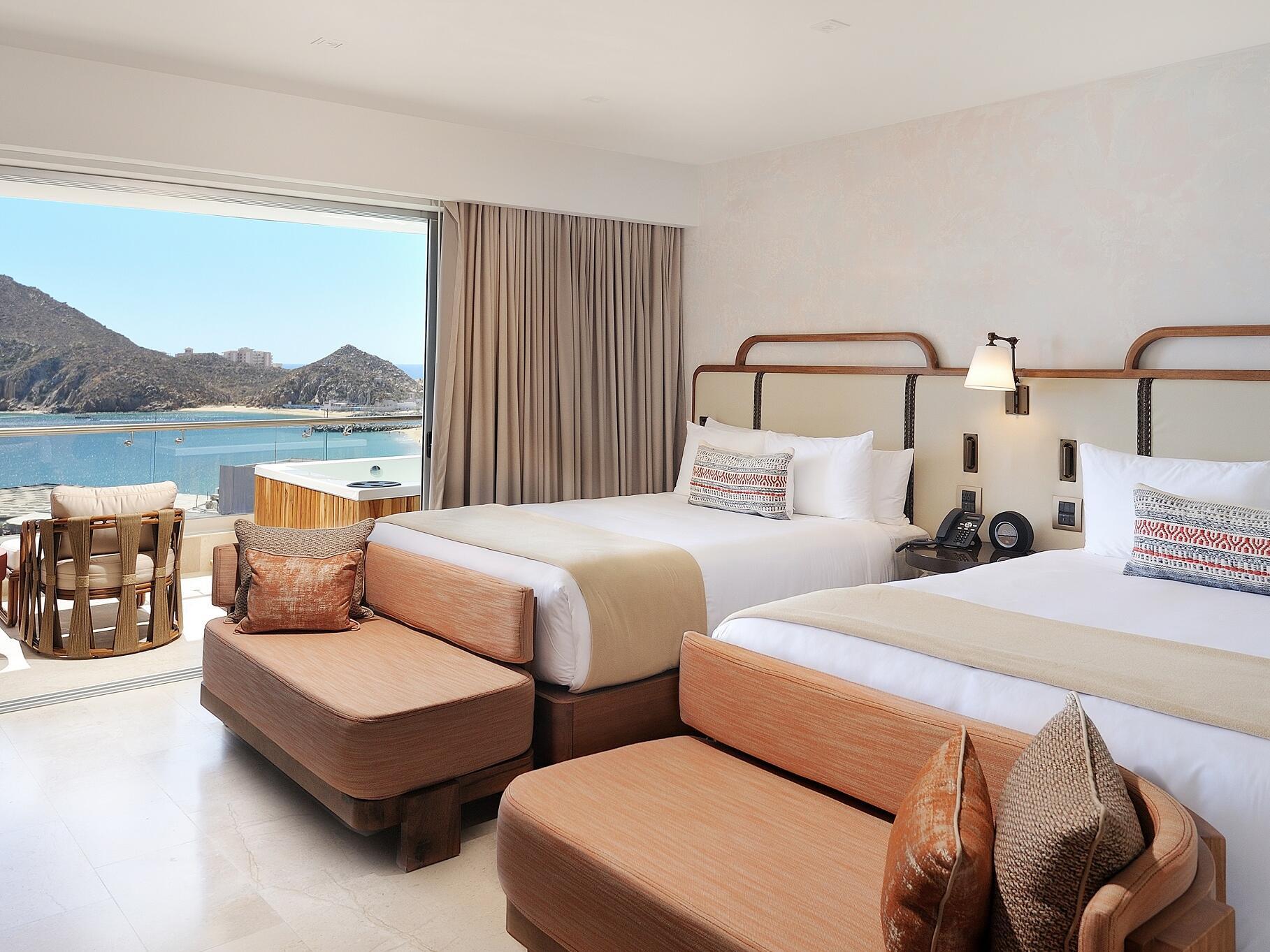 Infinity Two Queens Suite bedroom at Cabo villas beach resort