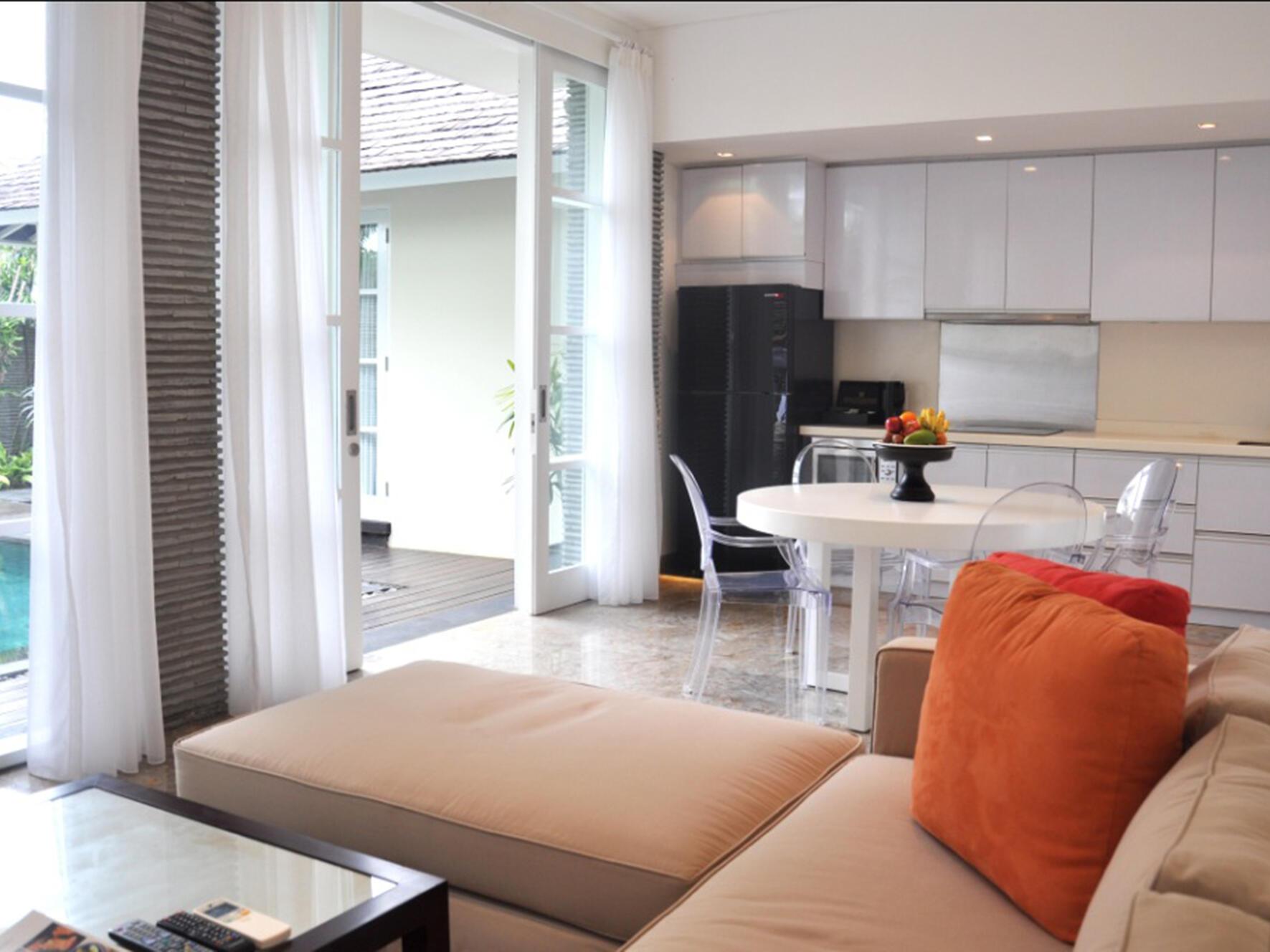 Living area of Two Bedroom studio Pool Villa Peppers Seminyak