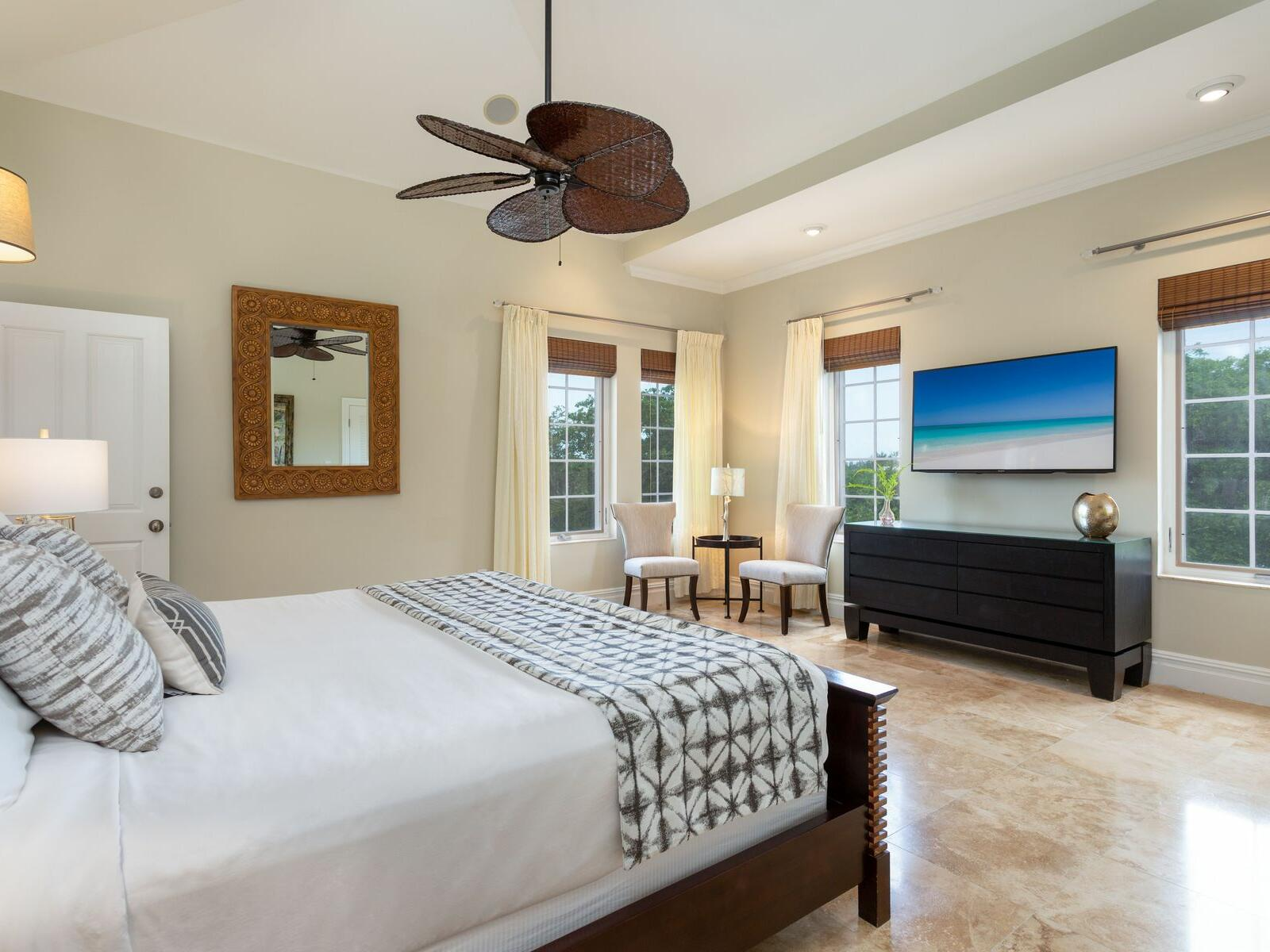 King bed in One Bedroom Pool view at Somerset On Grace Bay