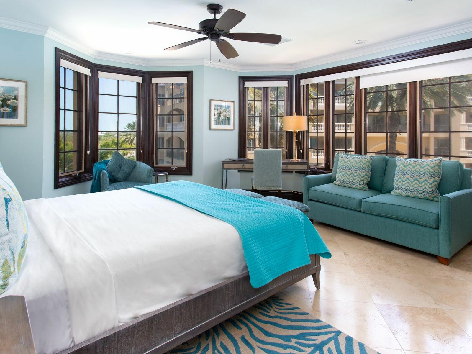 King bed in One Bedroom Ocean view at Somerset On Grace Bay