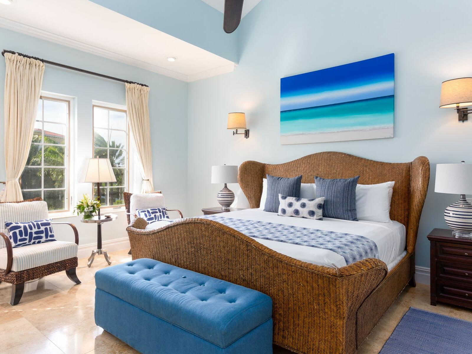 King bed in Three Bedroom at Somerset On Grace Bay
