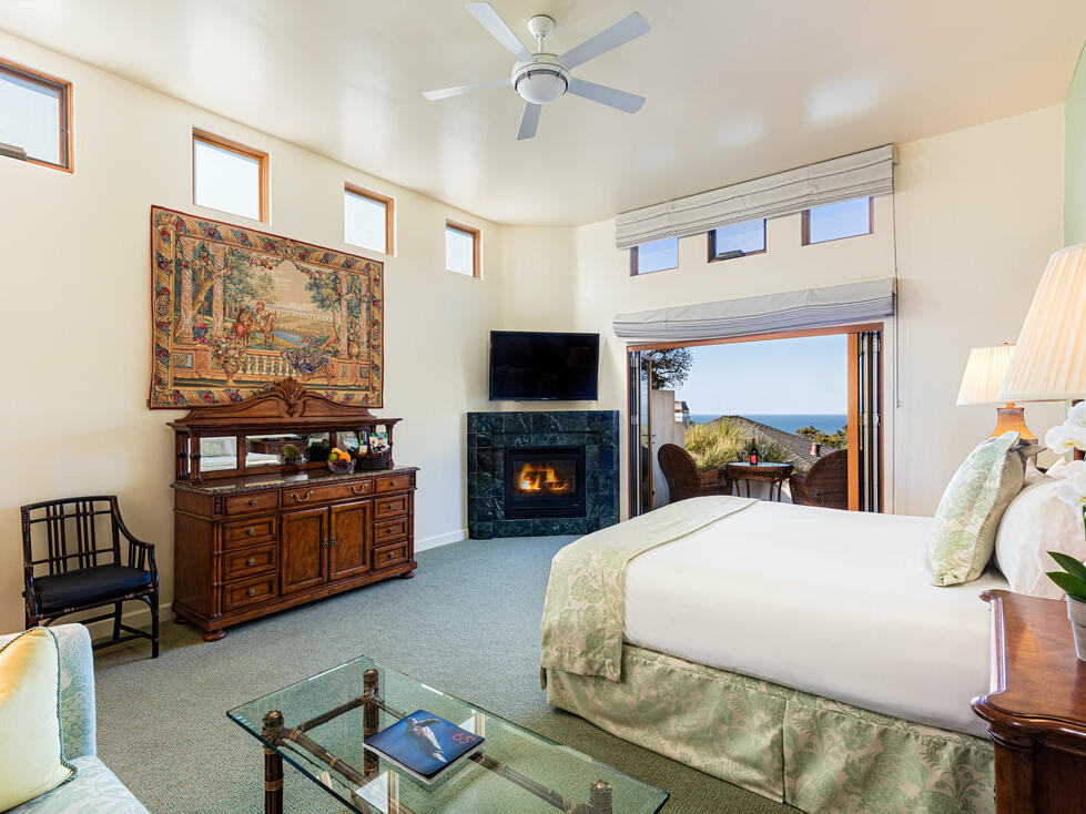 Superior King Suite Room with fireplace and TV at Tally Ho Inn