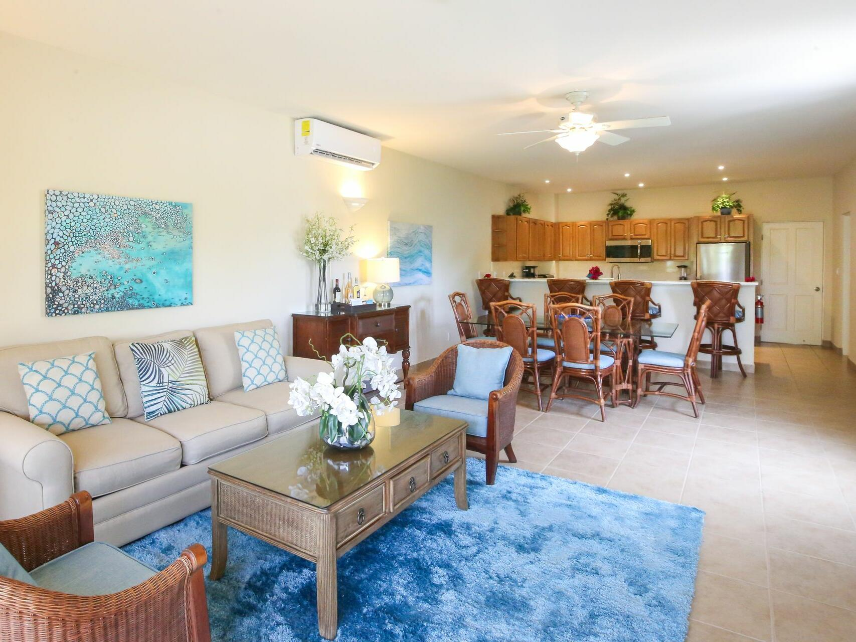 Living room of 3 Bedroom Bungalow at Windsong Resort On The Reef