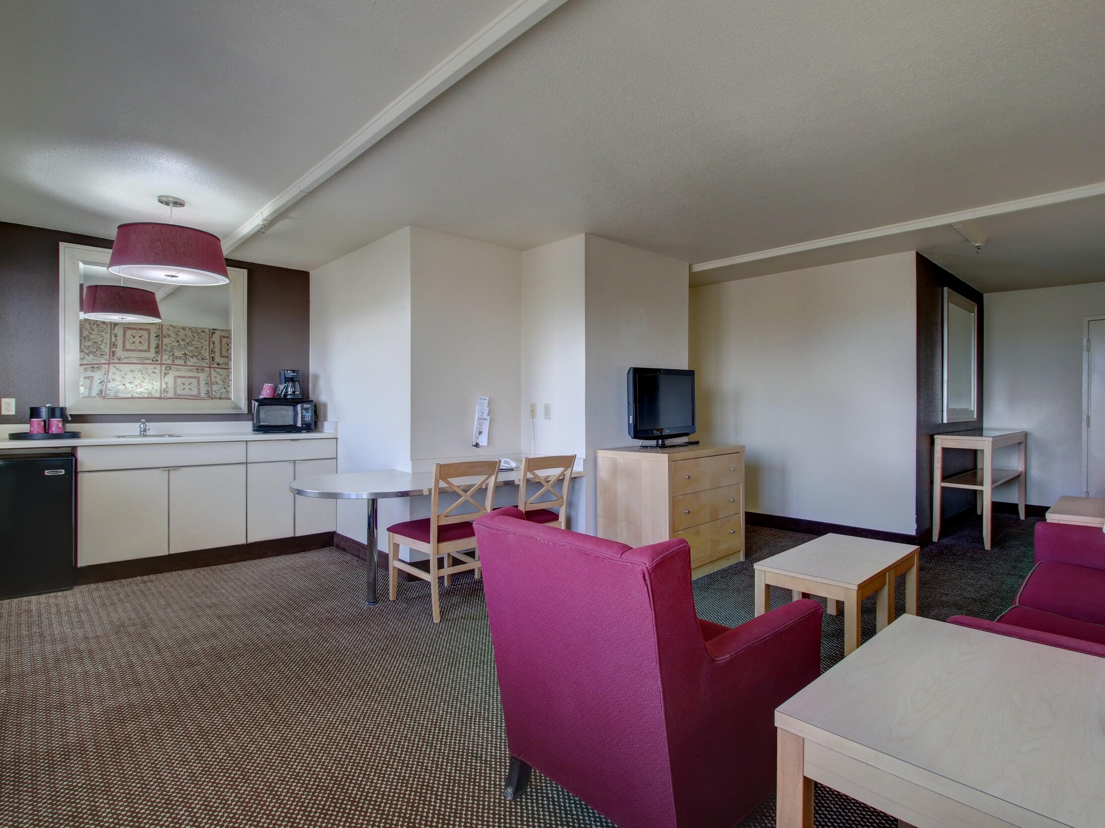 Pantry area and living area in the King Suite at Inlet Tower