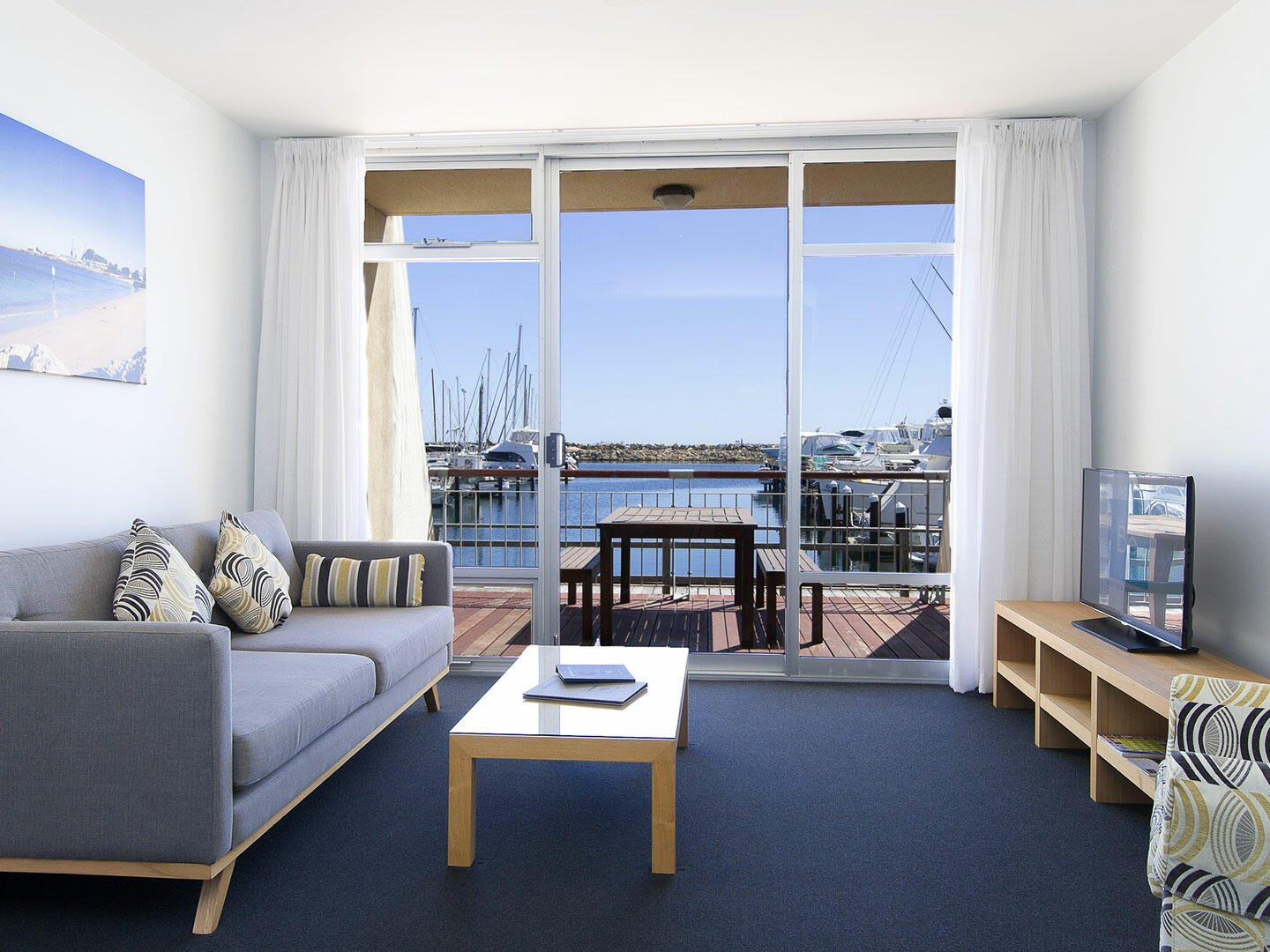 Living area in 3 Bedroom Ocean Sunset apartment at Be Fremantle