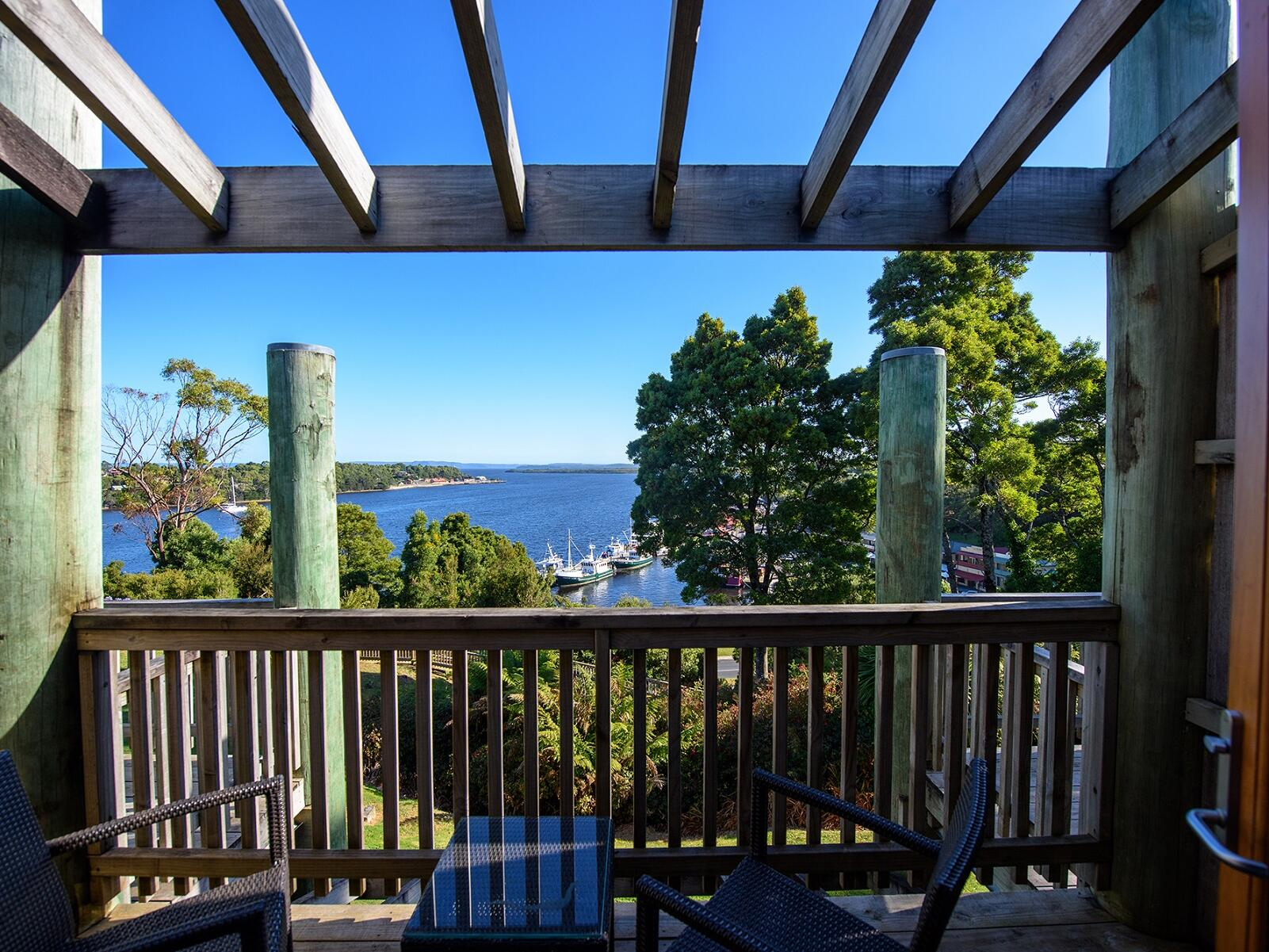 Balcony of Hilltop Harbor View Room at Strahan Village