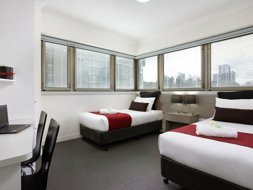 Two beds in Double plus single room at George Williams Hotel