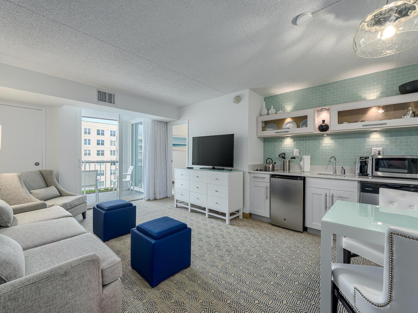 Kitchenette & Living Room Premium Poolside Double Suite at ICONA Diamond Beach Hotel Resort near Wildwood, NJ
